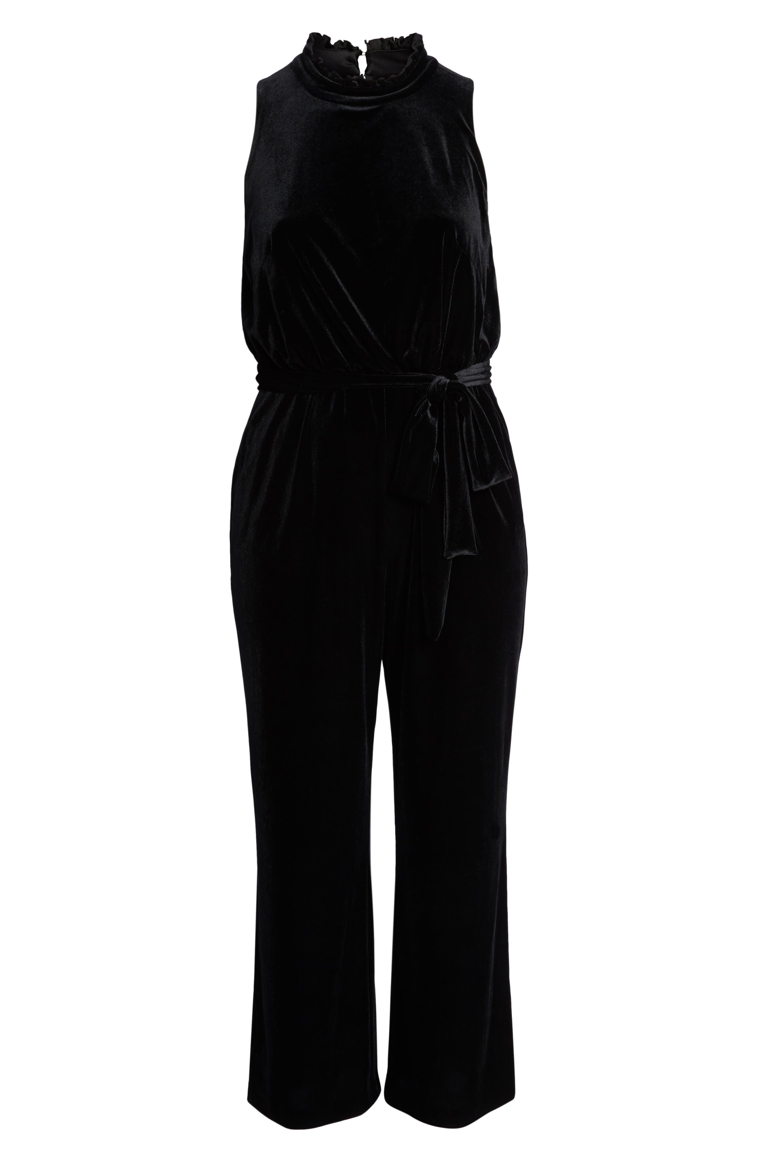 Ruffle Neck Velvet Jumpsuit,                             Alternate thumbnail 7, color,                             BLACK