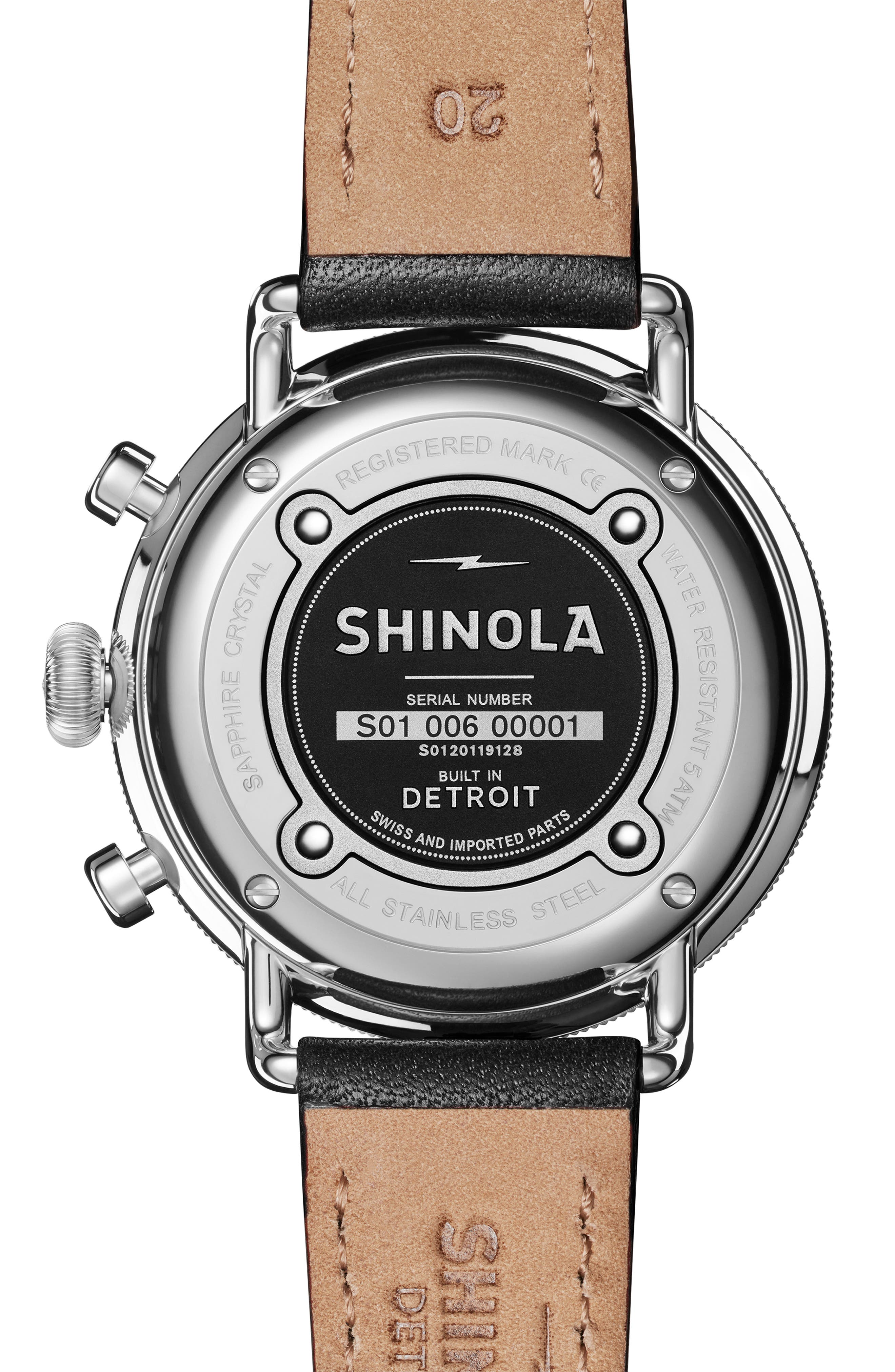 The Canfield Chrono Leather Strap Watch, 43mm,                             Alternate thumbnail 2, color,                             BLACK/ ROSE GOLD/ SILVER
