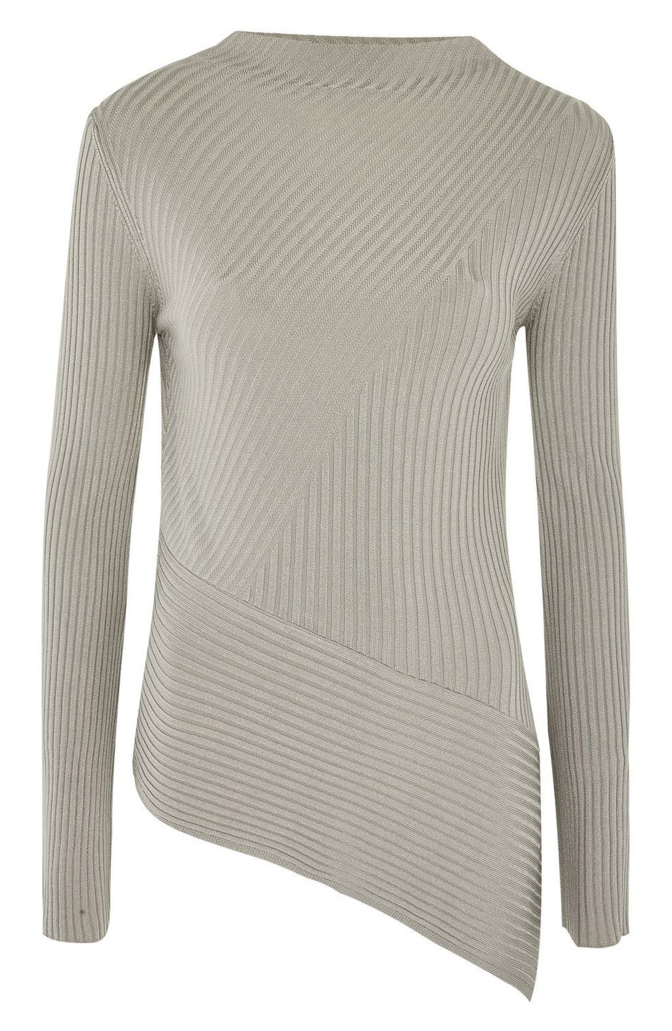Asymmetrical Ribbed Sweater,                             Alternate thumbnail 11, color,