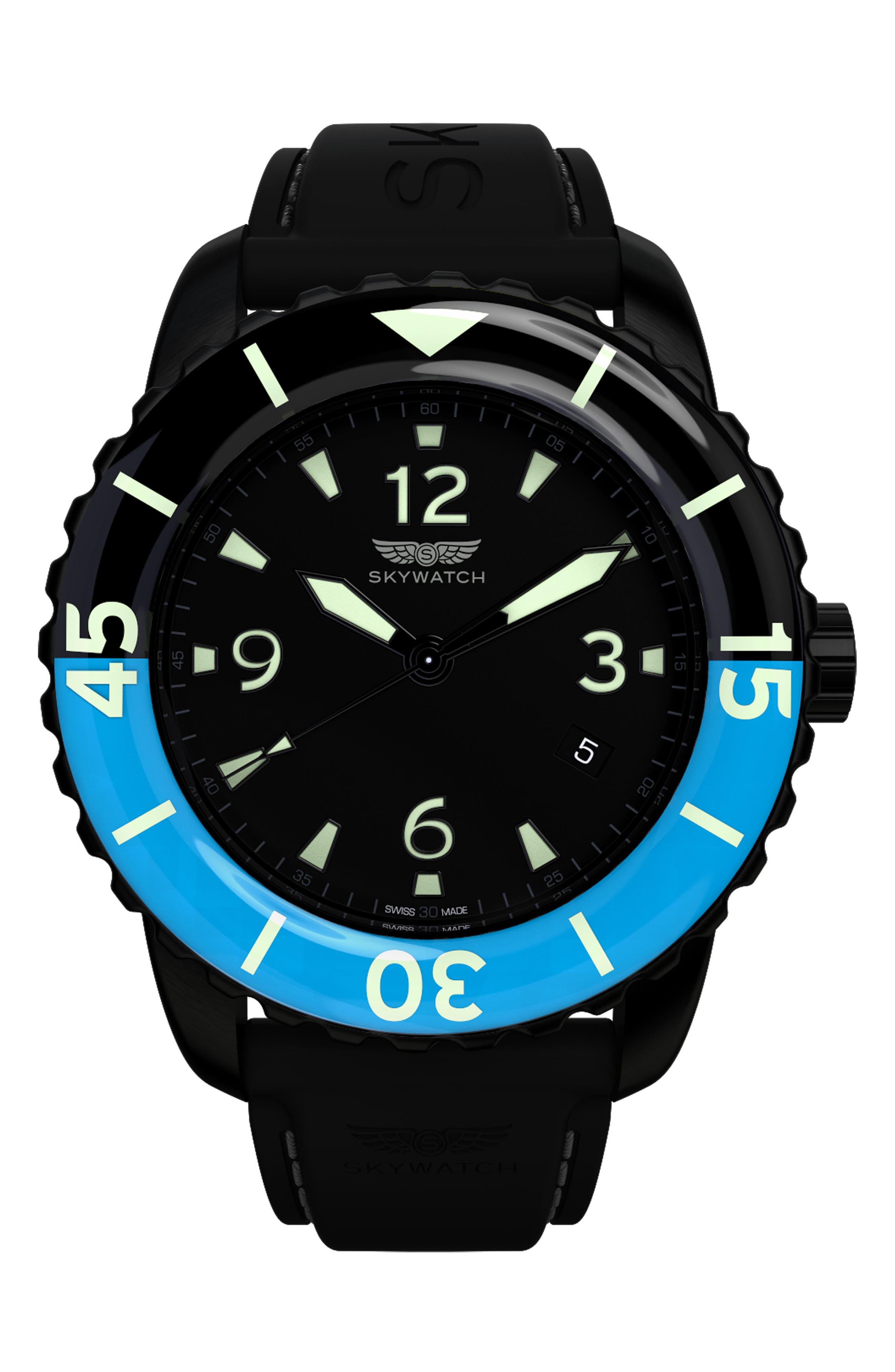 Classic Rubber Strap Watch, 44mm, Main, color, BLACK/ BLACK