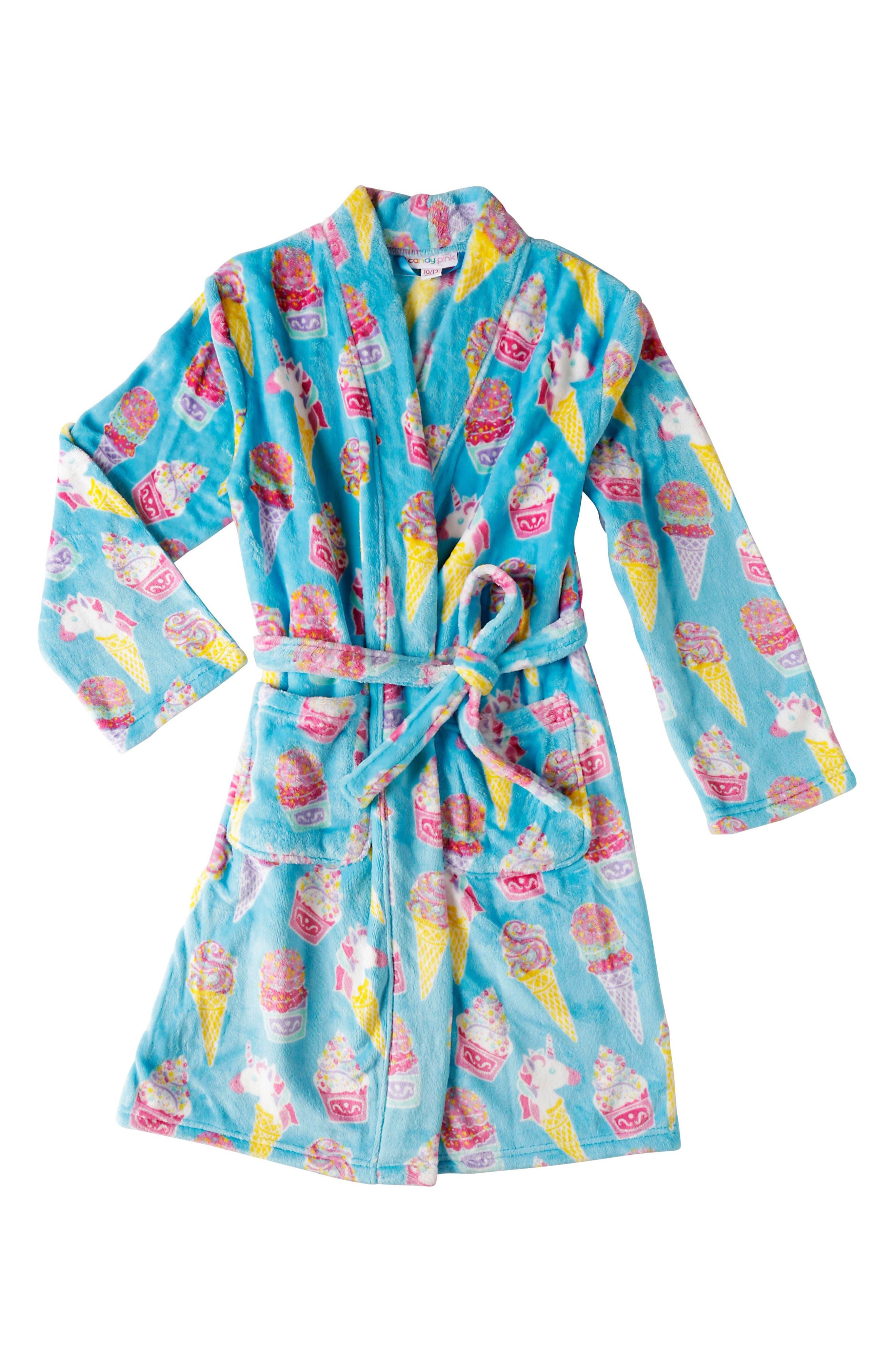 Ice Cream Fleece Robe,                             Main thumbnail 1, color,                             AQUA