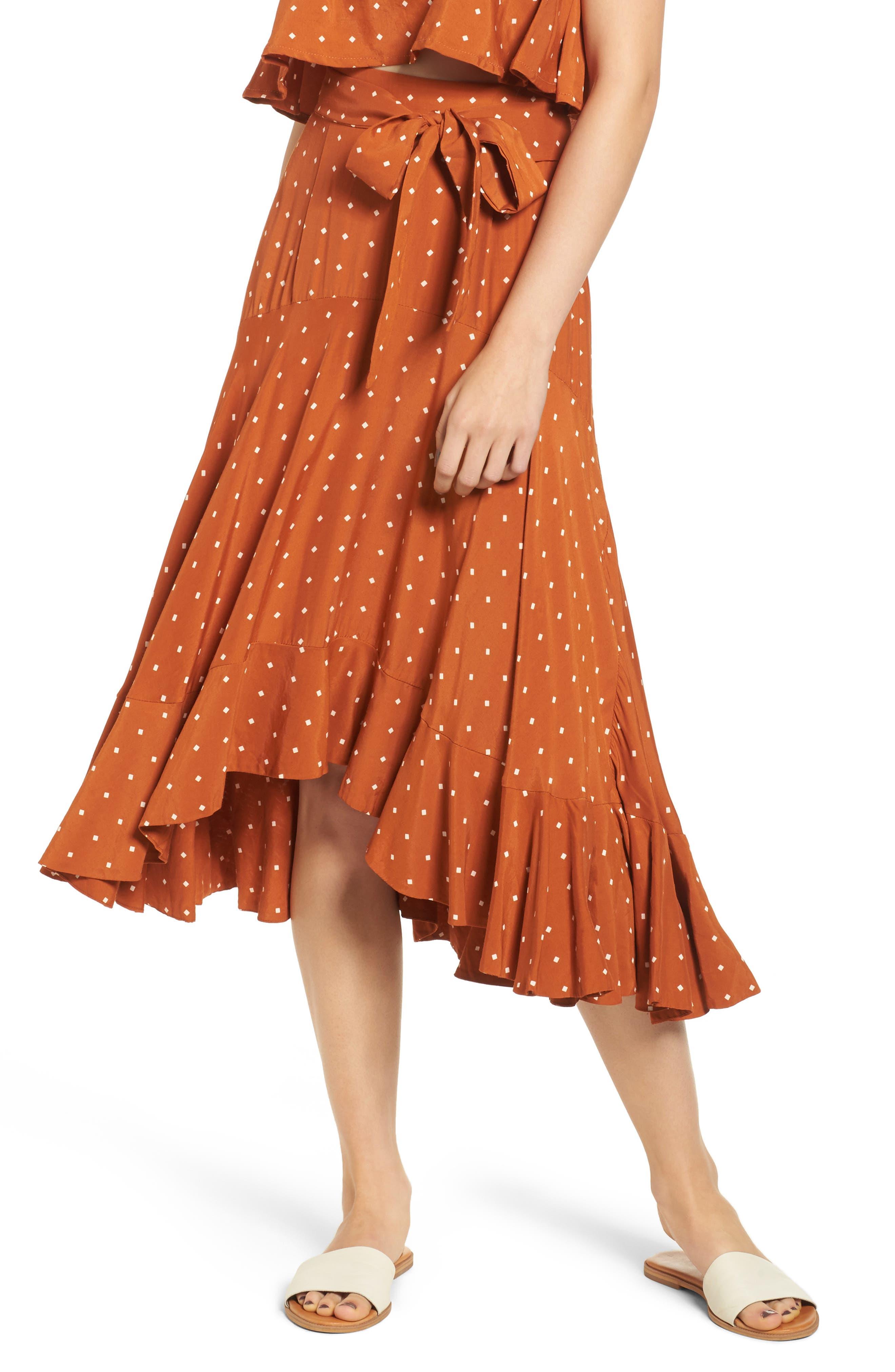 FAITHFULL THE BRAND Kamares Polka Dot Midi Skirt, Main, color, 700