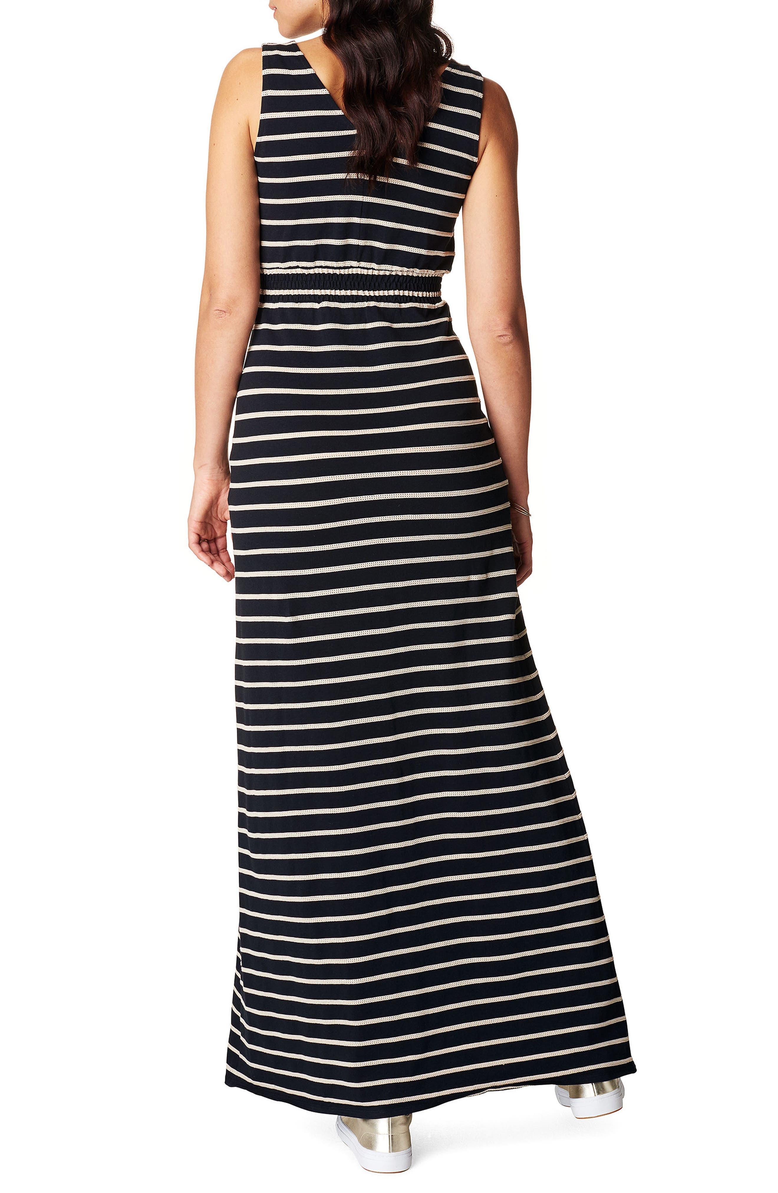 Mila Maternity Maxi Dress,                             Alternate thumbnail 2, color,                             BLACK