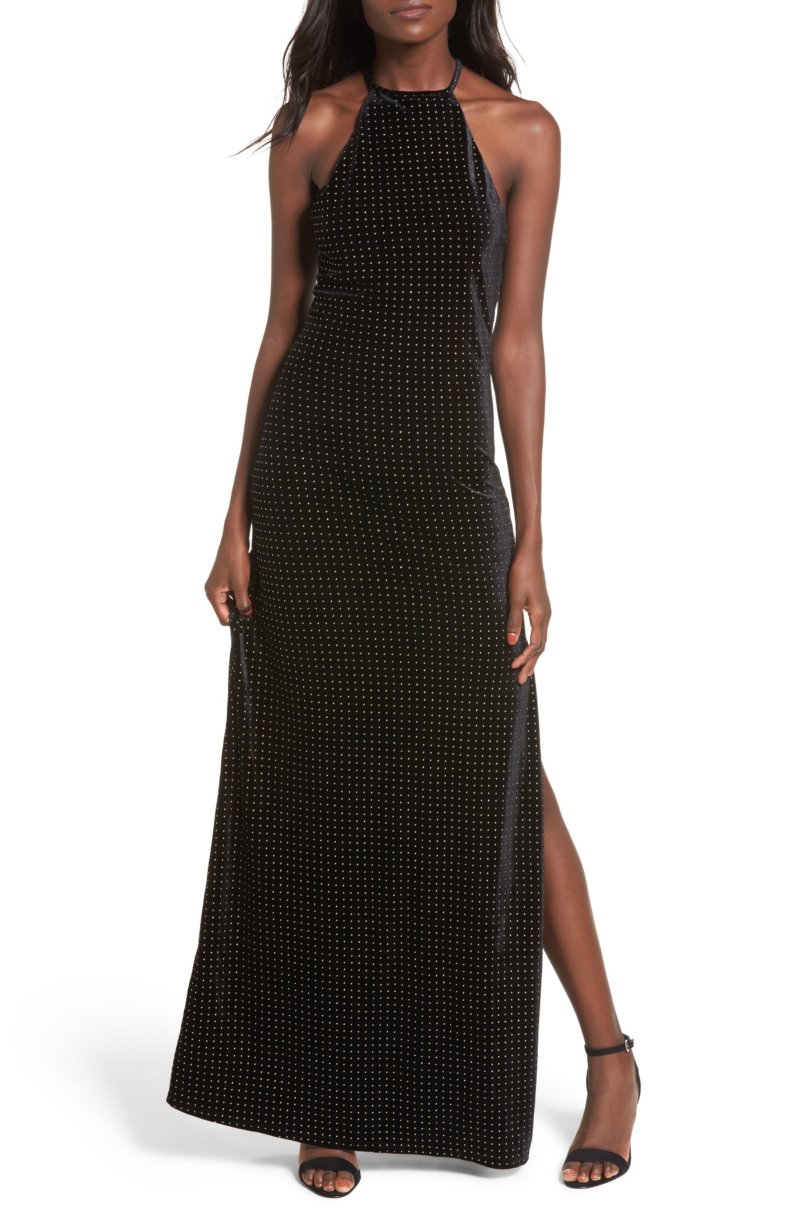 Crenshaw Studded Velvet Gown,                             Main thumbnail 1, color,                             002