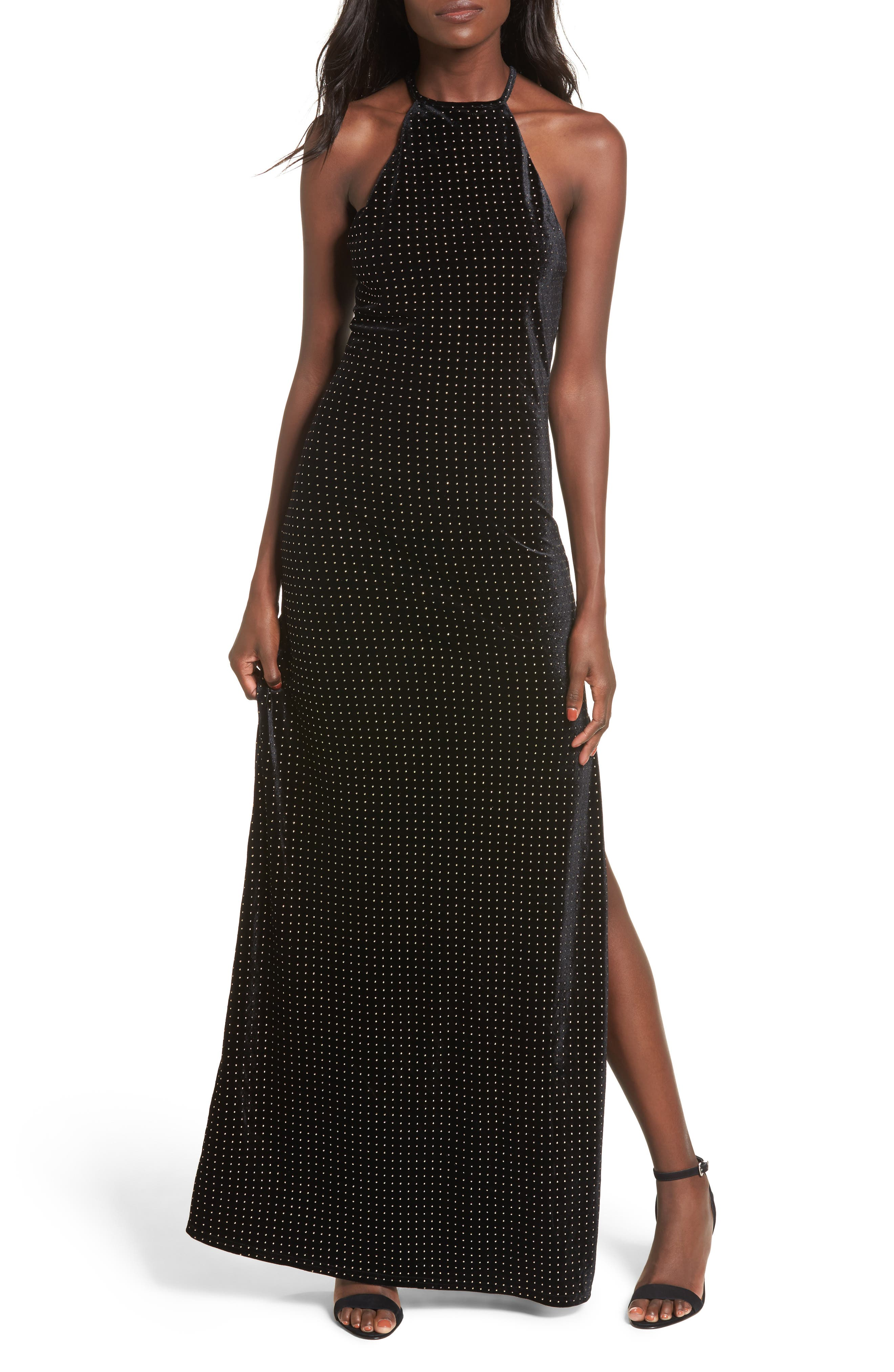 Crenshaw Studded Velvet Gown,                         Main,                         color,