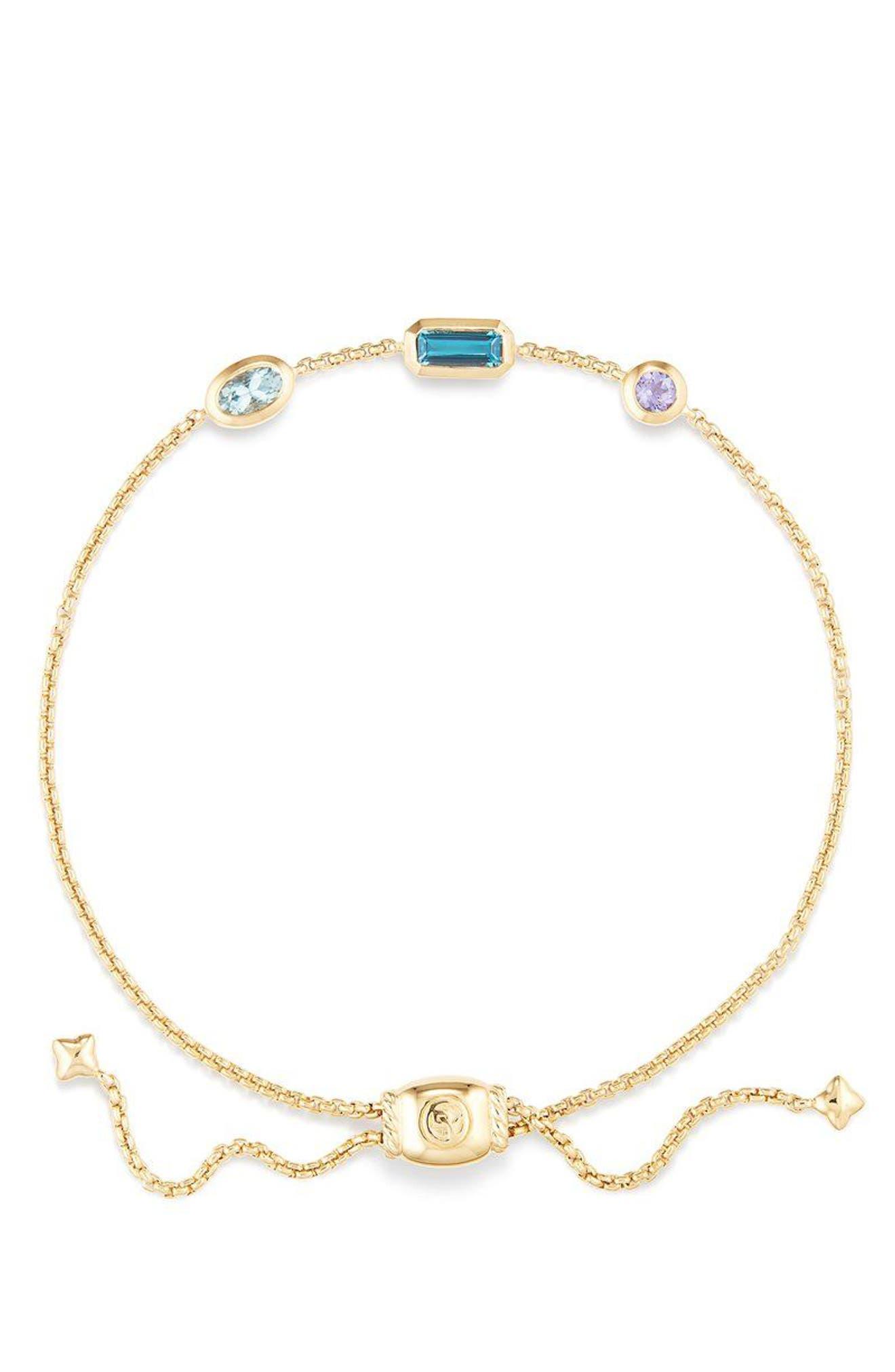 Novella Chain Bracelet in 18K Gold,                             Alternate thumbnail 2, color,                             GOLD/ HAMPTON BLUE TOPAZ