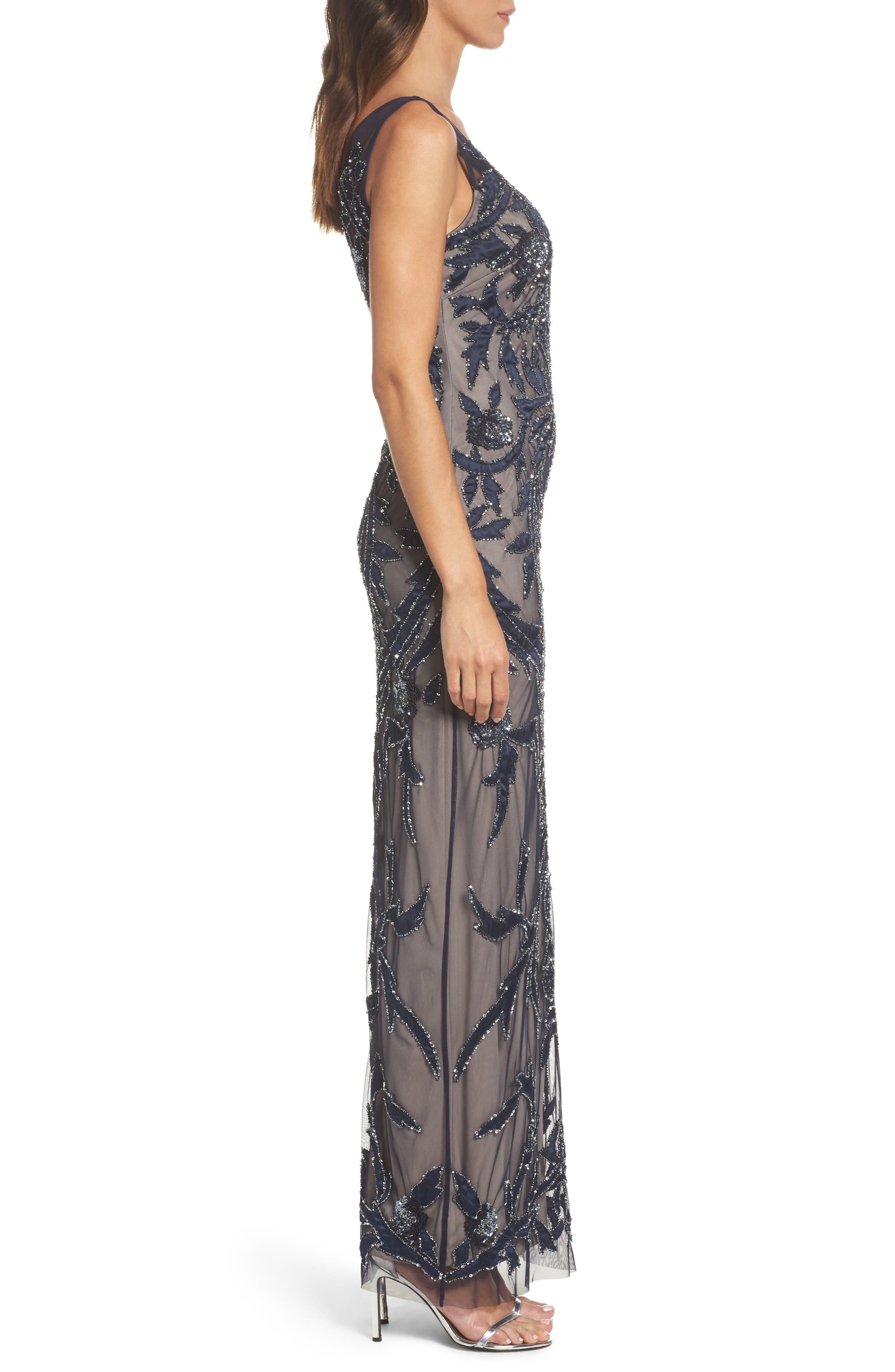 Embellished Column Gown,                             Alternate thumbnail 3, color,                             411