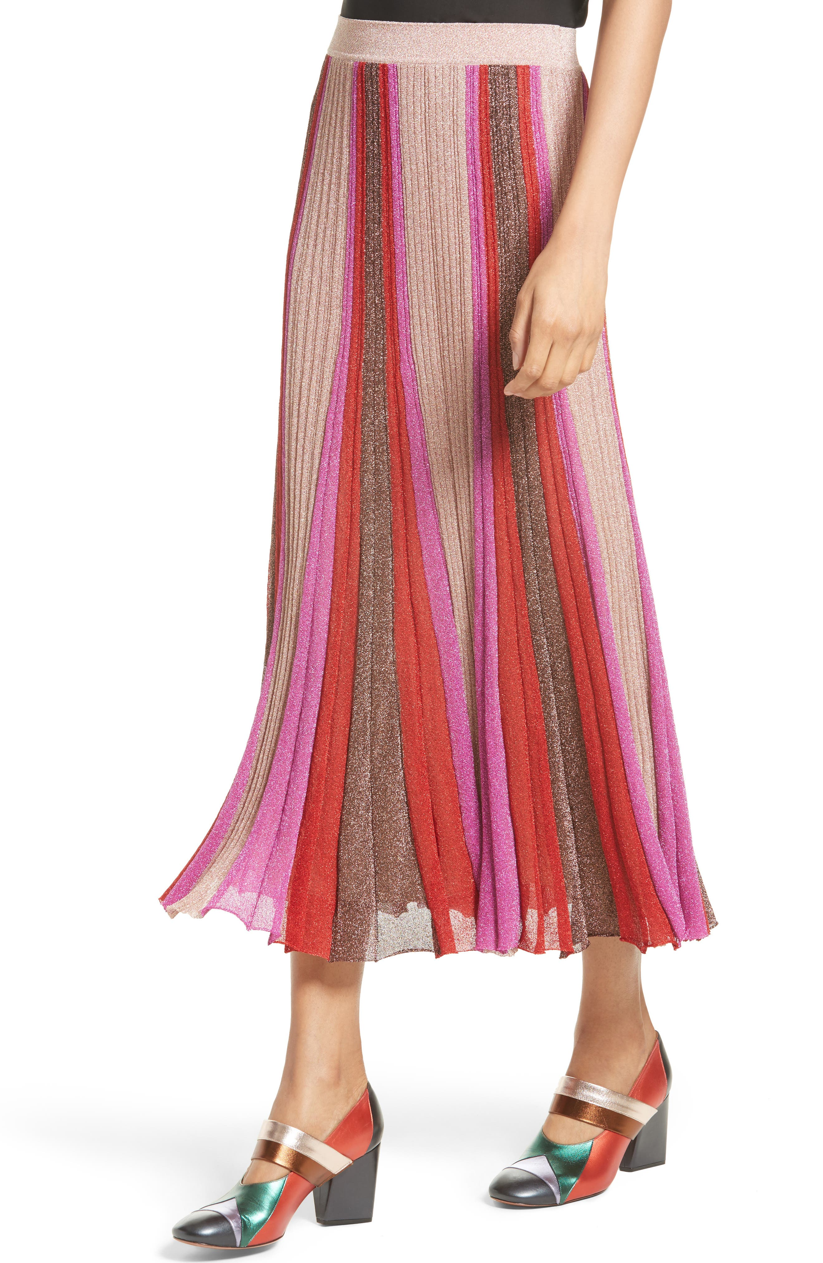 Metallic Knit Colorblock Pleated Skirt,                             Alternate thumbnail 4, color,                             650