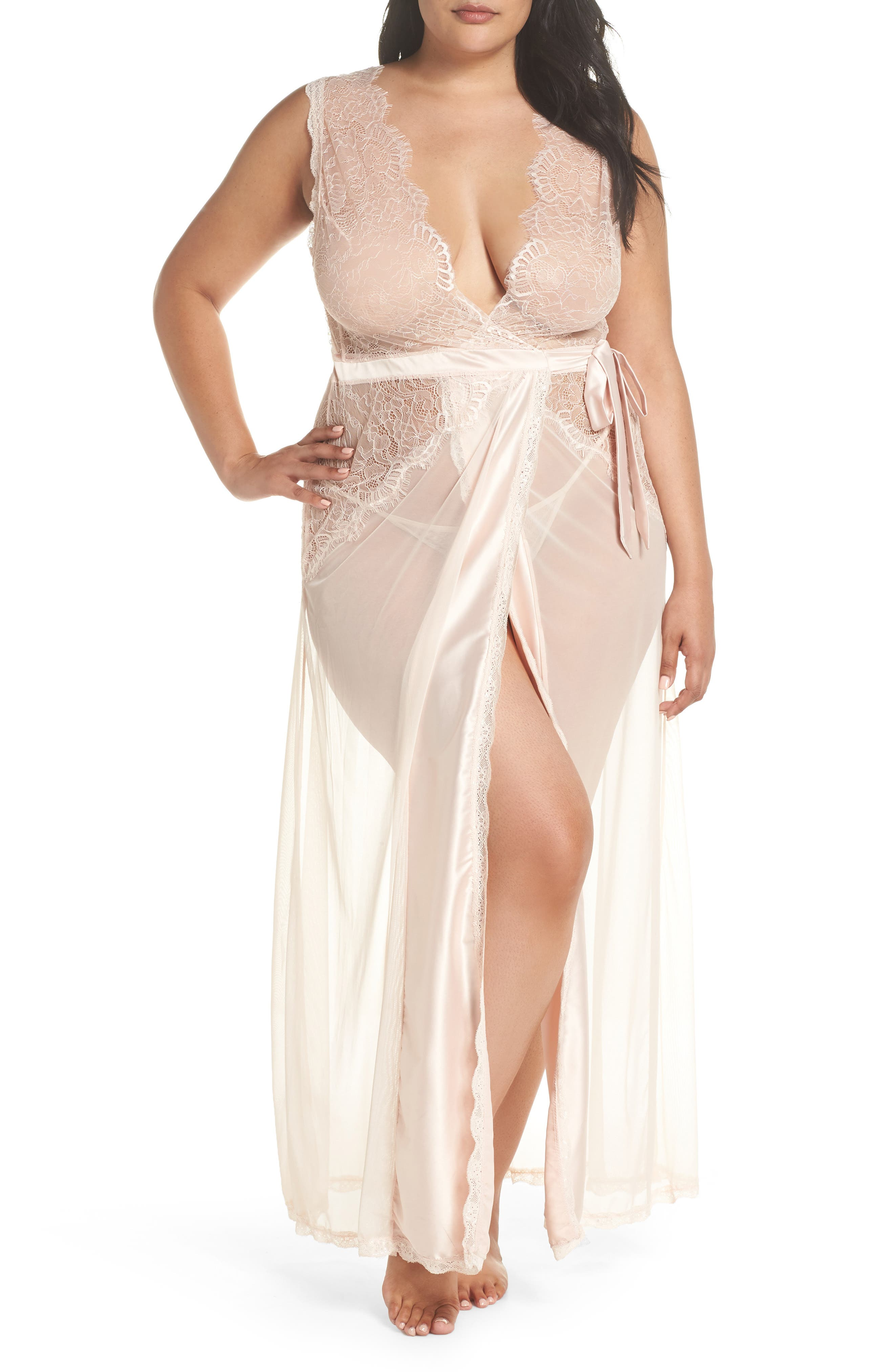 Sheer Wrap & G-String,                         Main,                         color, SILVER PEONY
