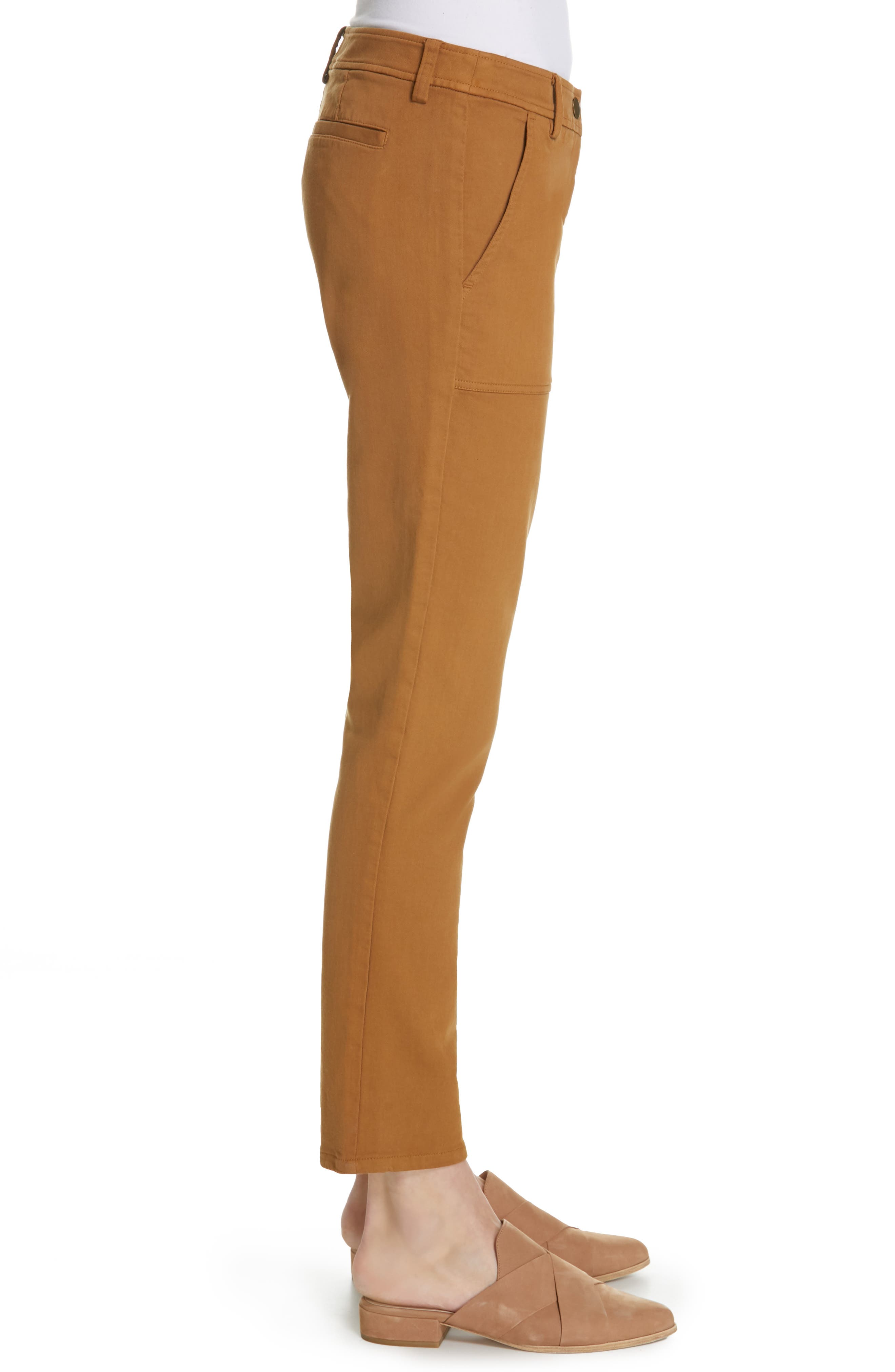 EILEEN FISHER,                             Slim Stretch Cotton Pants,                             Alternate thumbnail 3, color,                             DARK CLAY