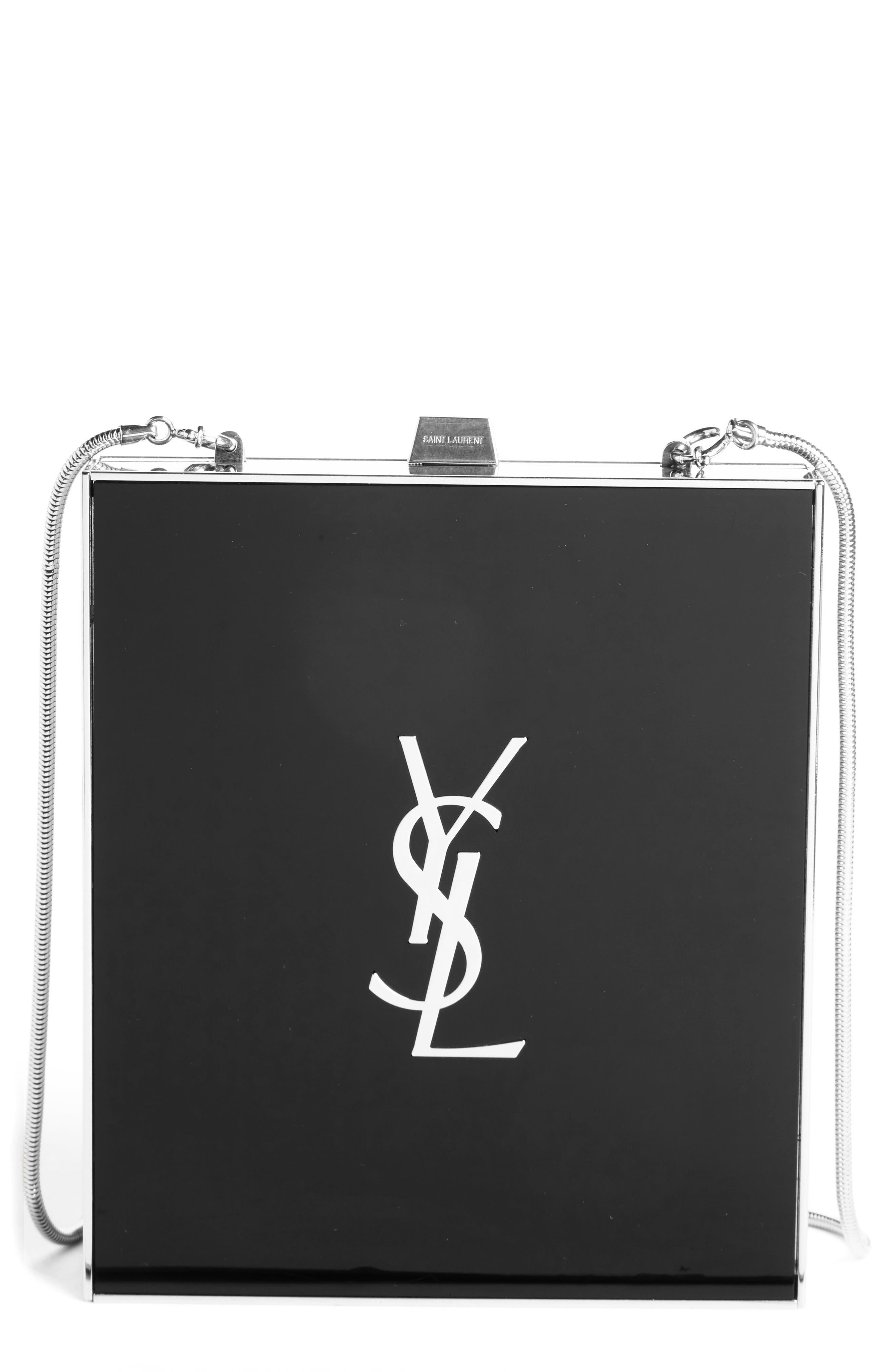 Tuxedo Plexiglass Clutch,                         Main,                         color, NOIR/ SILVER