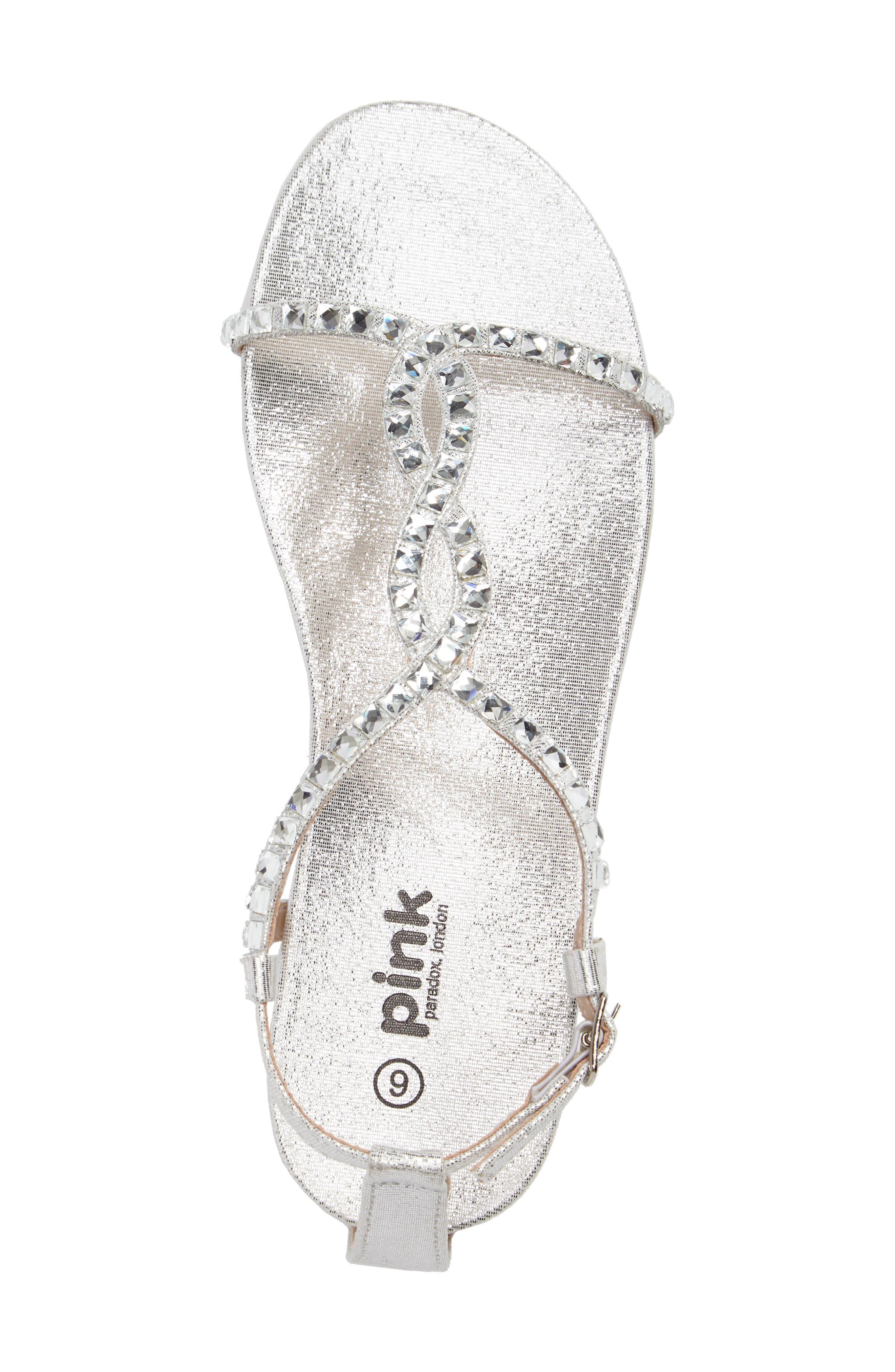 Kaylee Ankle Strap Sandal,                             Alternate thumbnail 3, color,                             SILVER