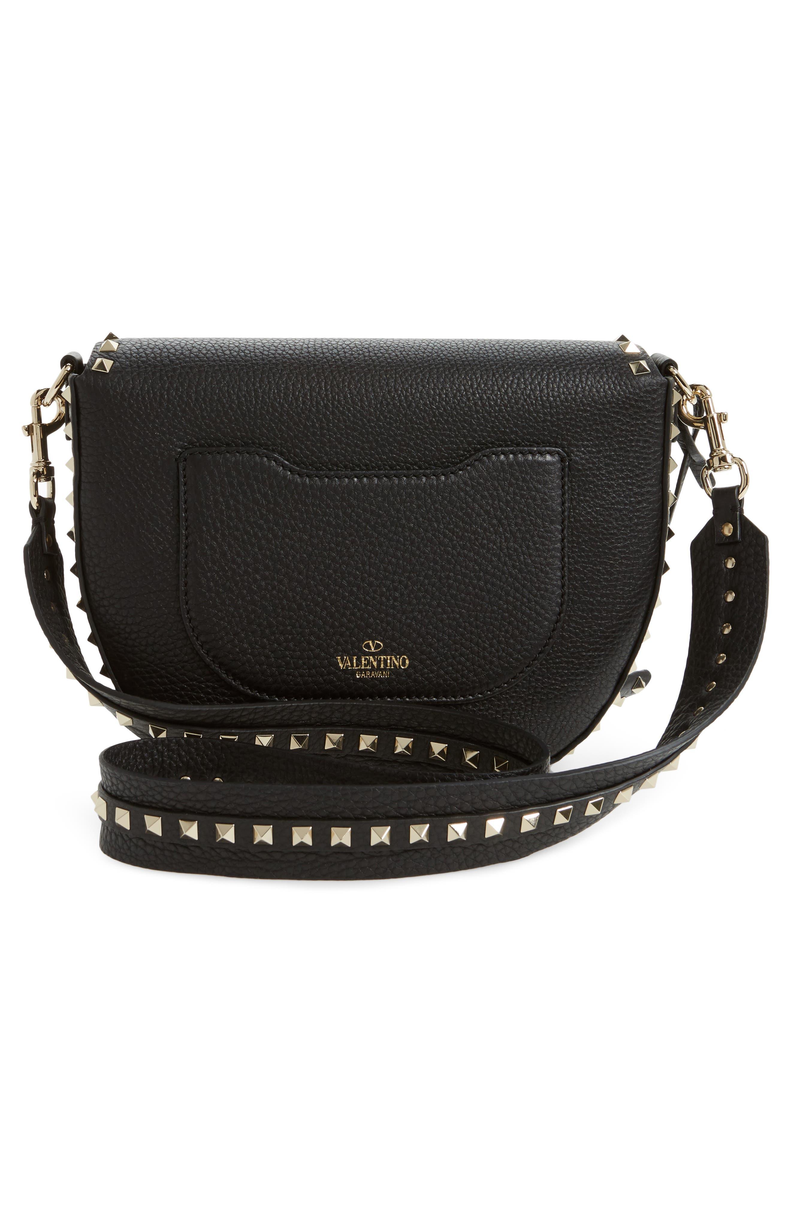 Rockstud Leather Saddle Bag,                             Alternate thumbnail 3, color,                             BLACK