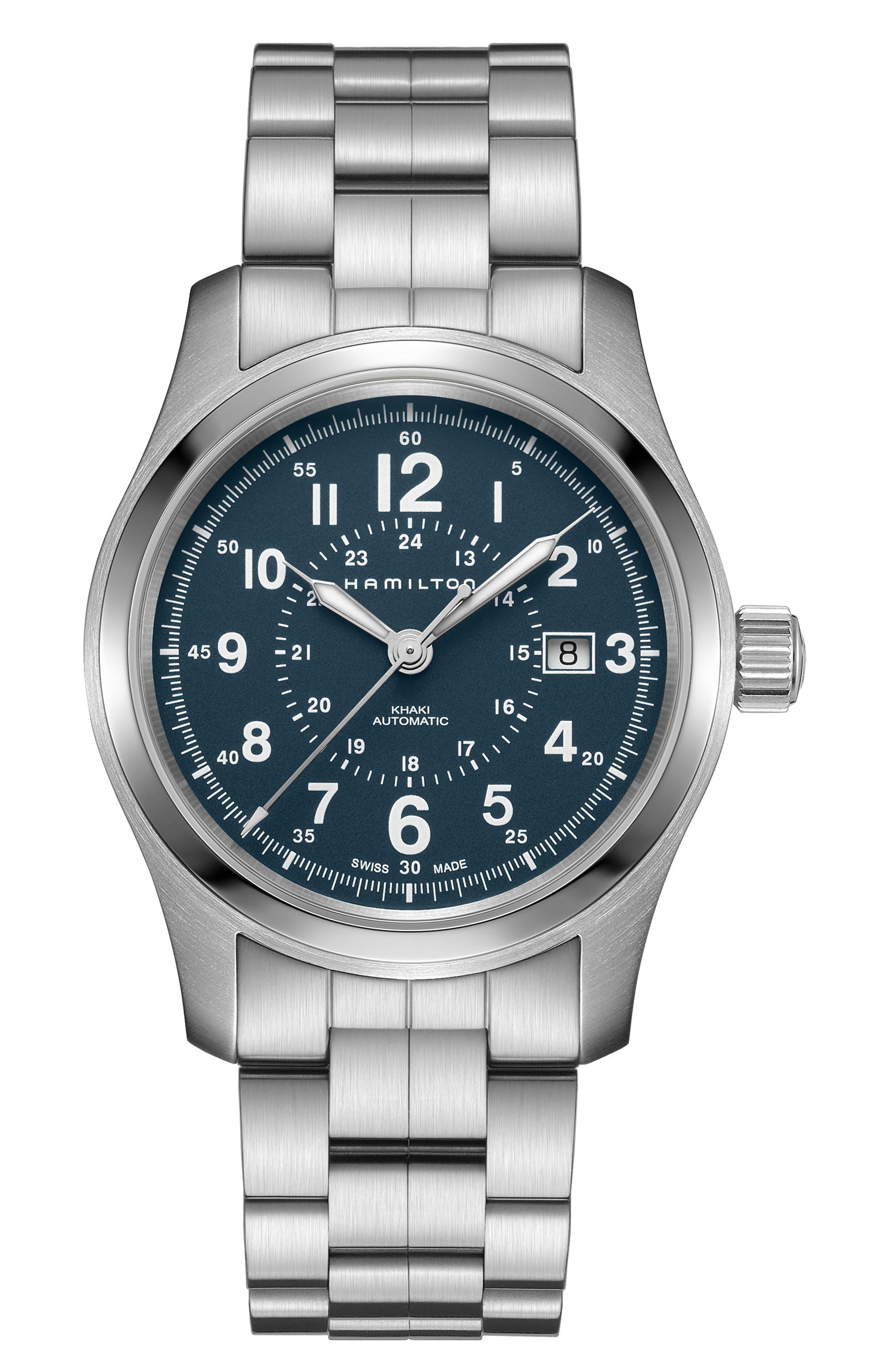Khaki Field Automatic Bracelet Watch, 42mm,                             Main thumbnail 1, color,                             SILVER/ BLUE/ SILVER