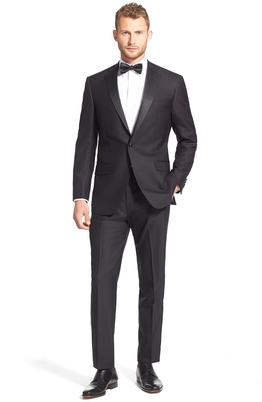 New York Classic Fit Black Wool Tuxedo,                             Alternate thumbnail 9, color,                             BLACK