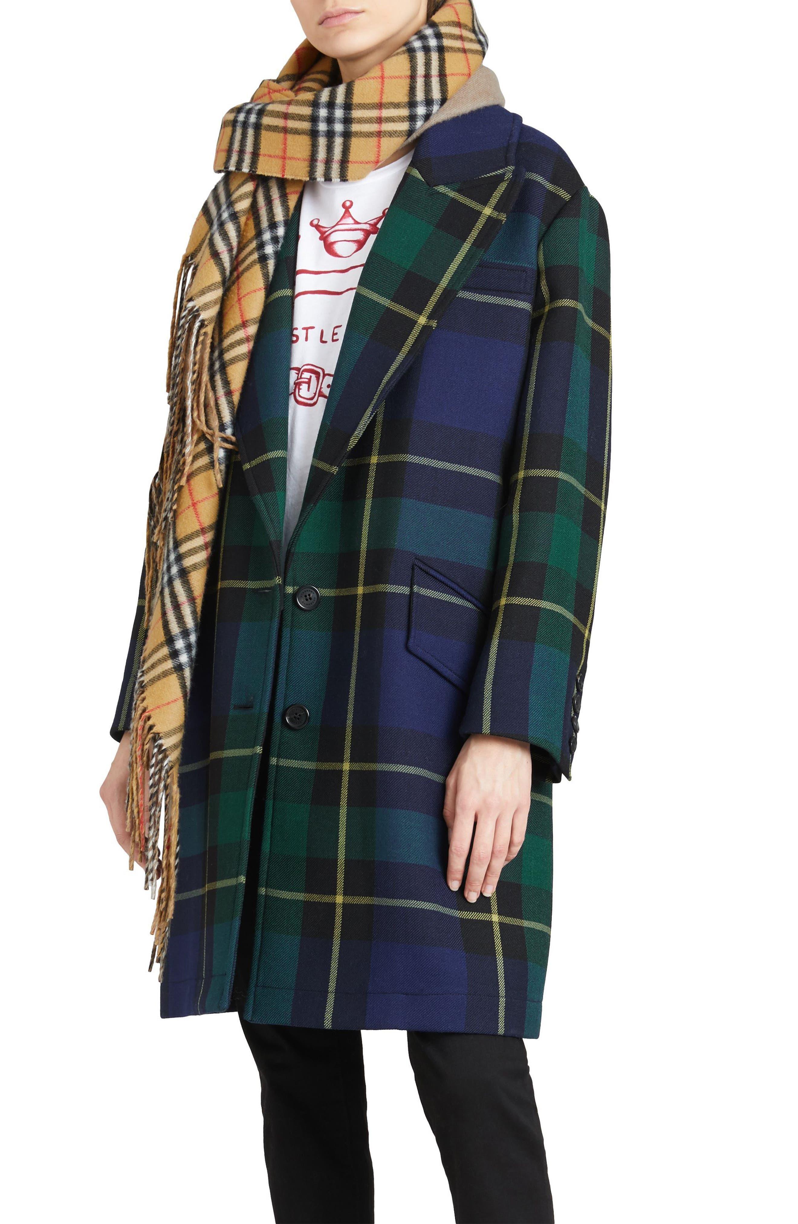 Strathyre Tartan Plaid Wool Blend Coat,                             Alternate thumbnail 3, color,                             303