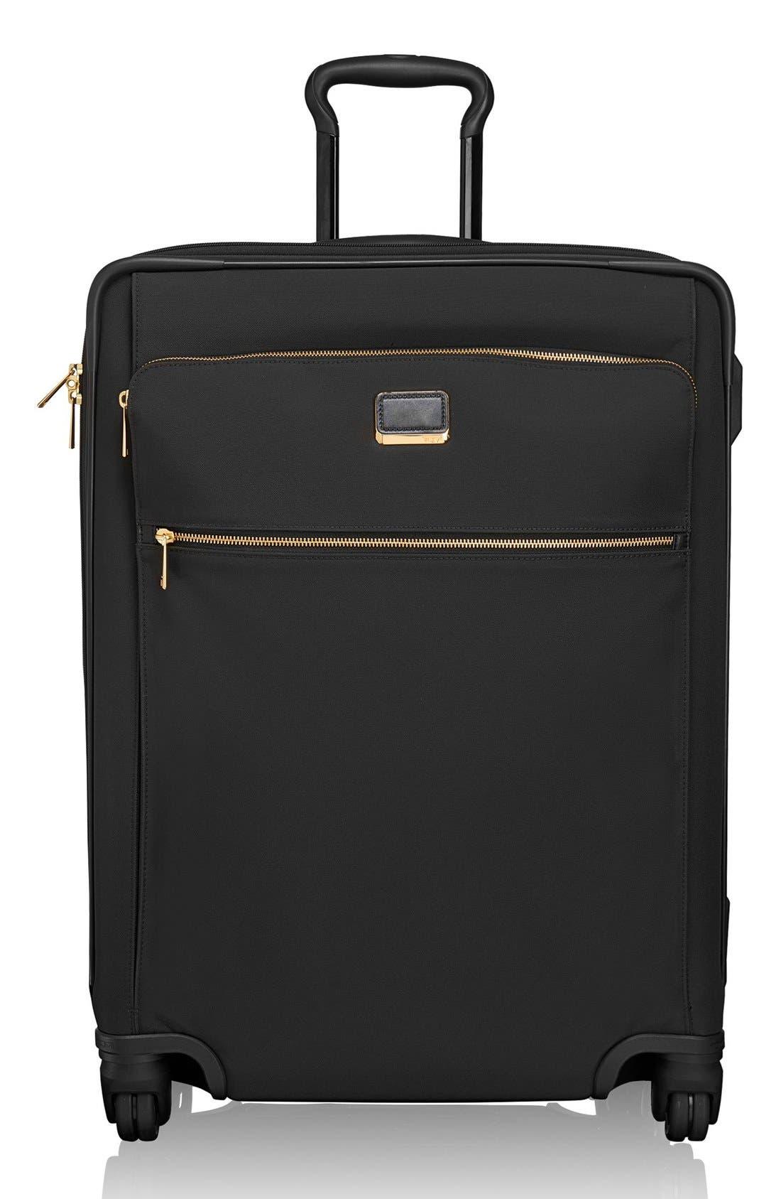 Larkin - Jess Short Trip 26-Inch Expandable 4-Wheel Suitcase,                         Main,                         color, BLACK