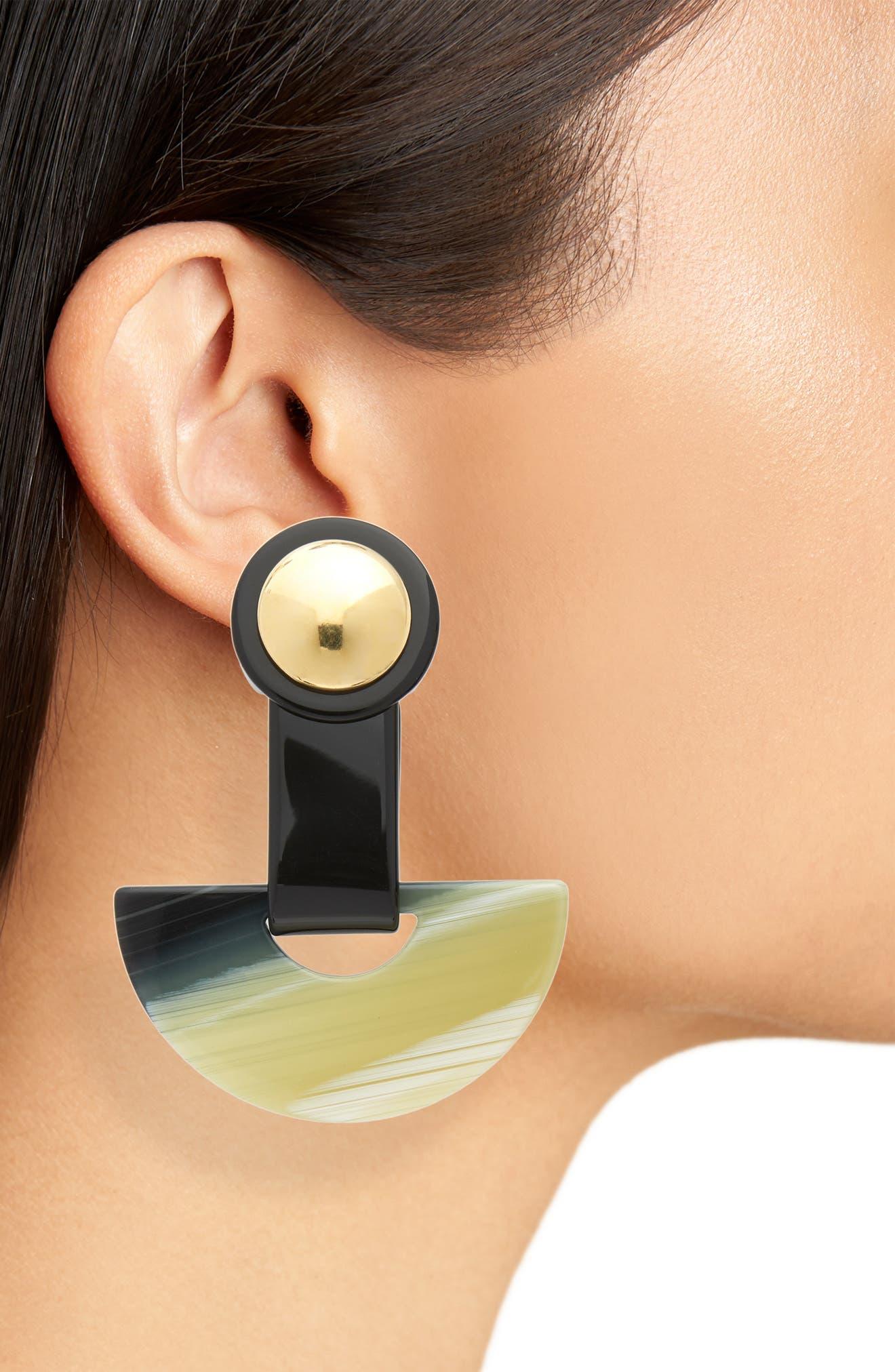 Zora Drop Earrings,                             Alternate thumbnail 2, color,                             BLACK SHELL