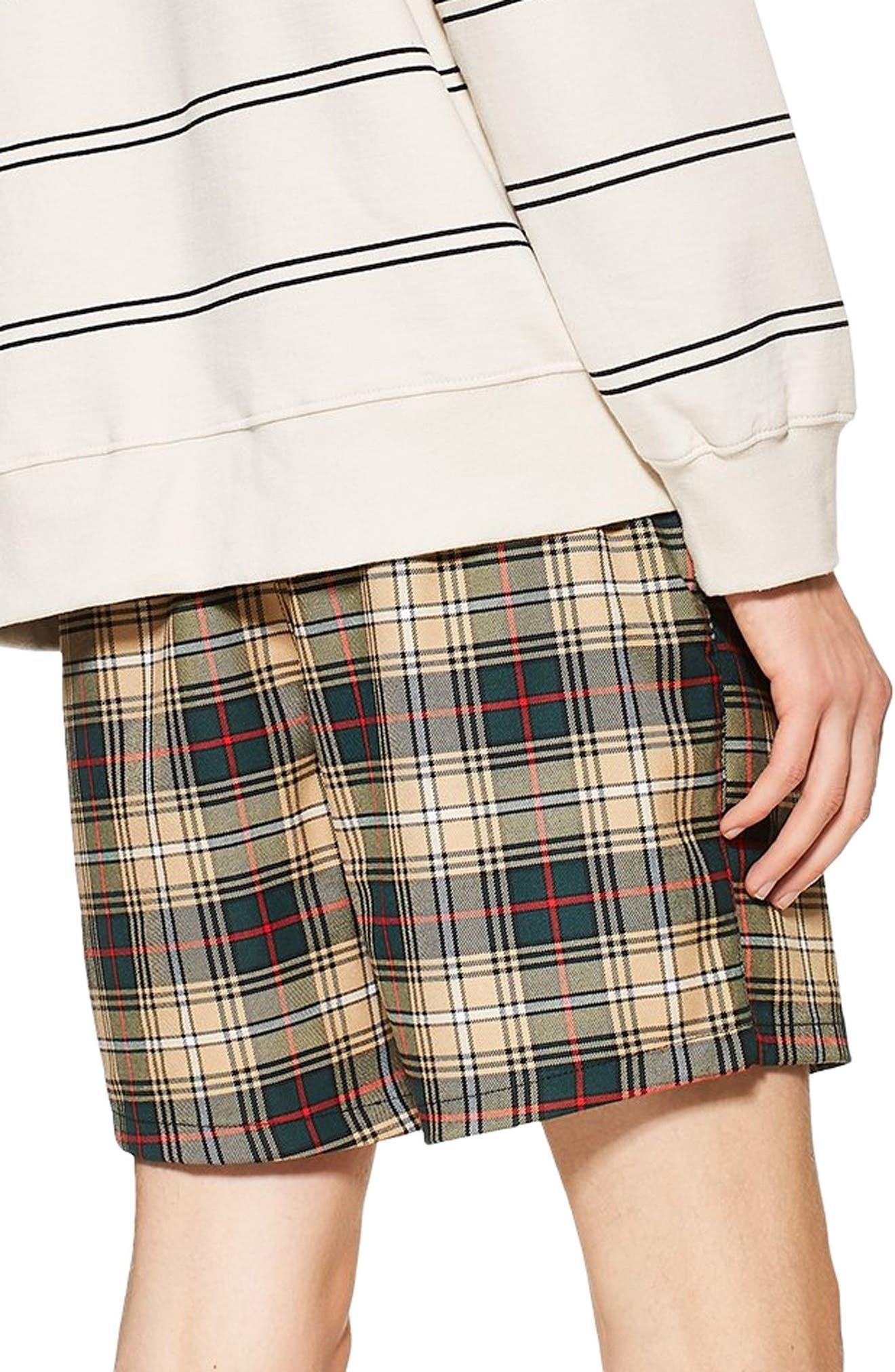 Check Shorts,                             Alternate thumbnail 2, color,                             BEIGE MULTI