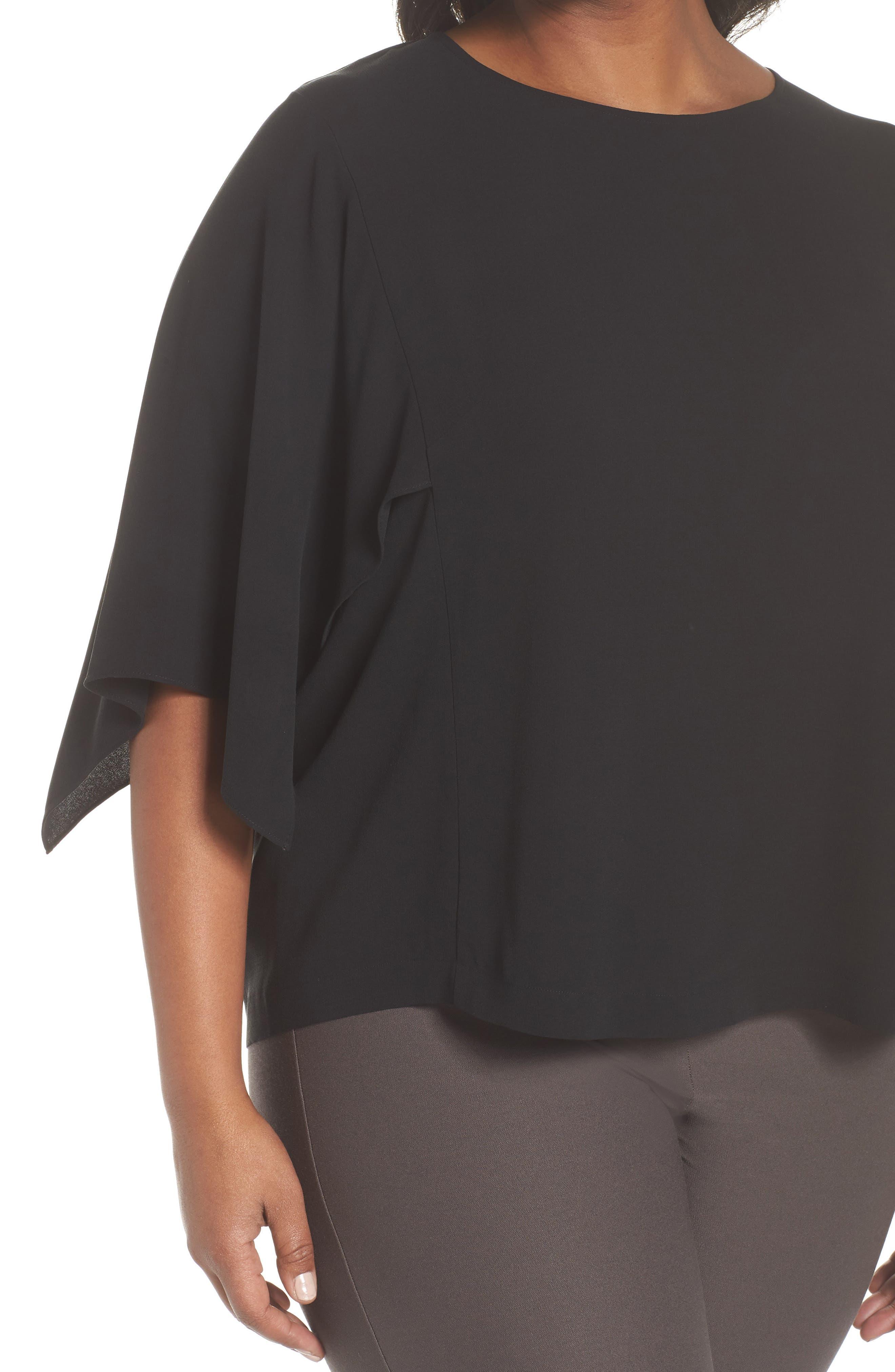 Slit Sleeve Silk Top,                             Alternate thumbnail 4, color,                             001