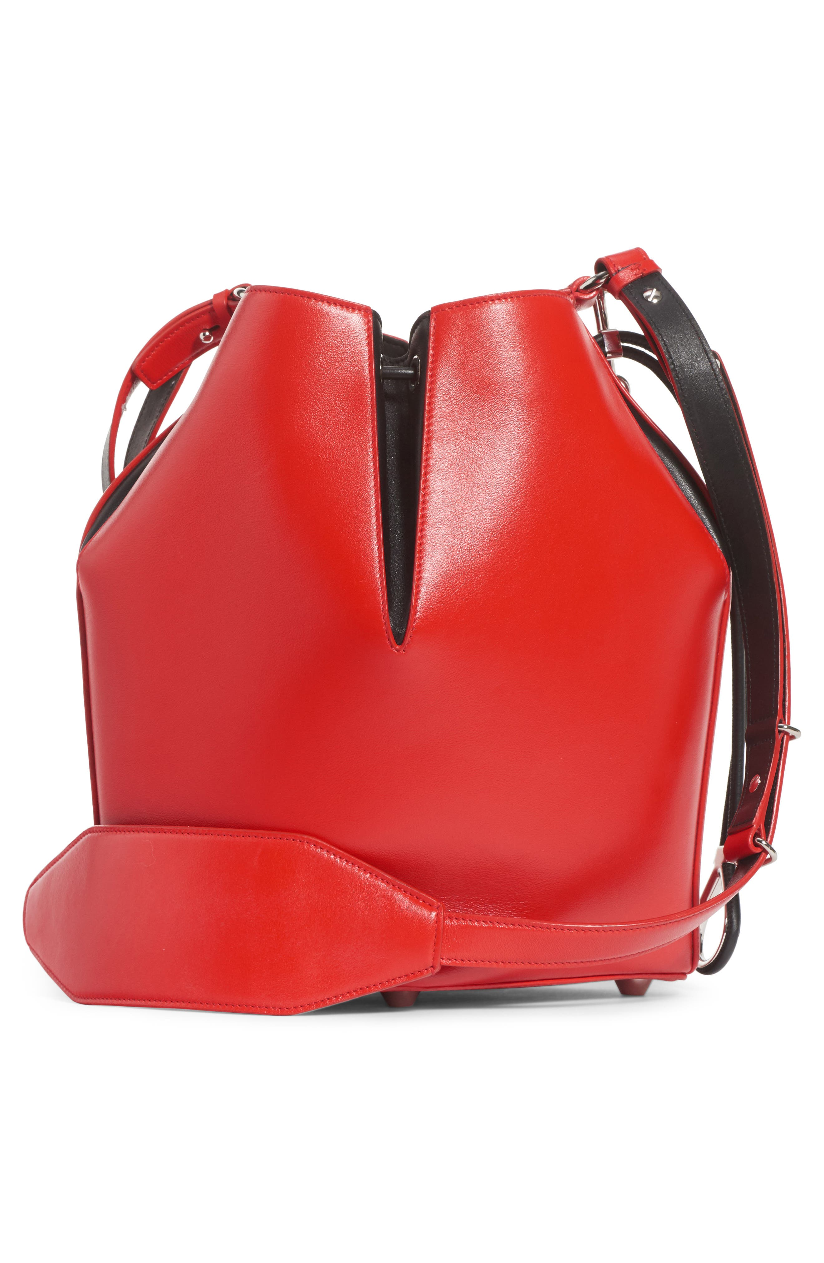 Leather Bucket Bag,                             Alternate thumbnail 3, color,                             LUST RED/ BLACK