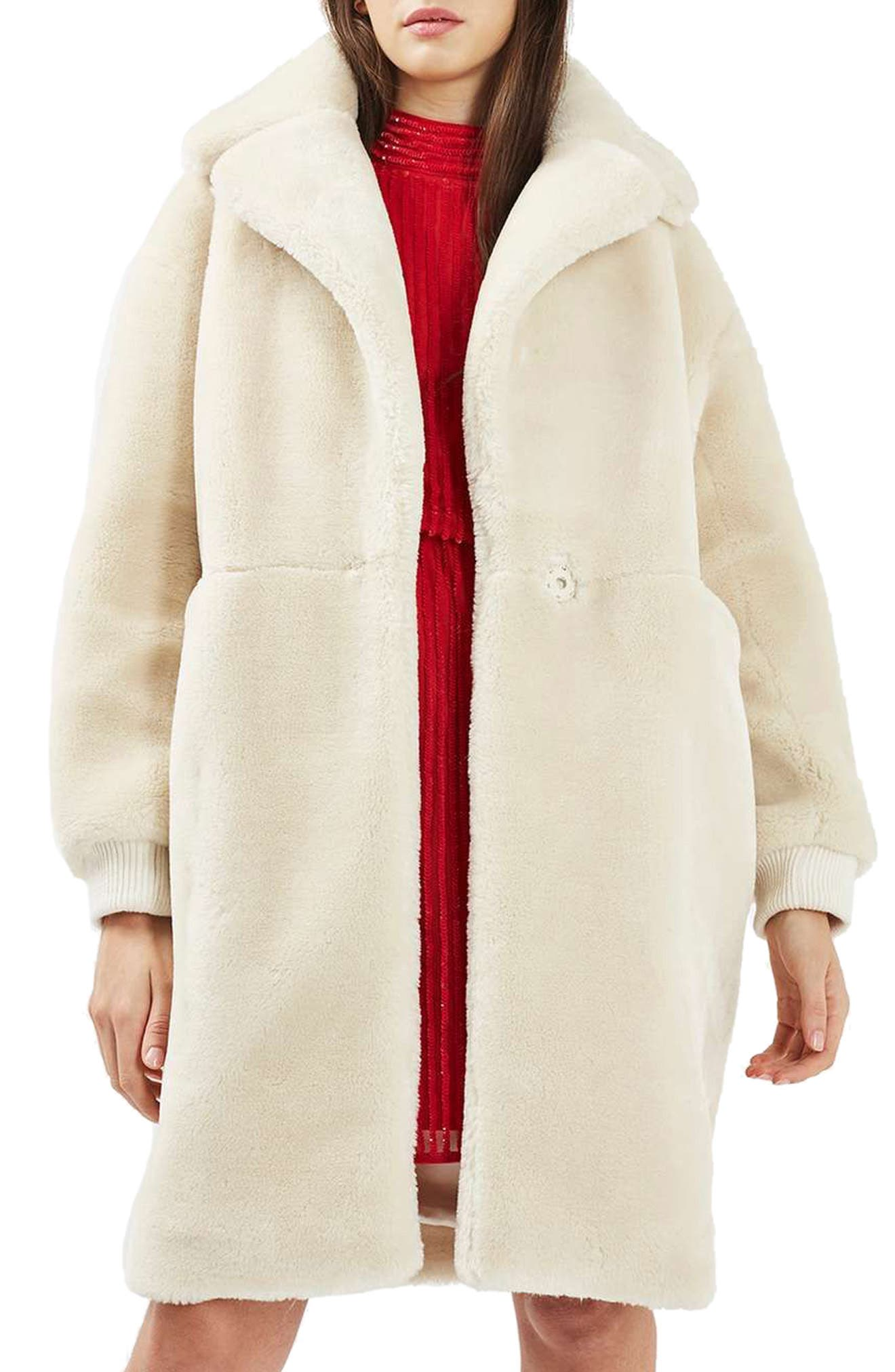 TOPSHOP,                             Polar Bear Faux Fur Coat,                             Main thumbnail 1, color,                             900