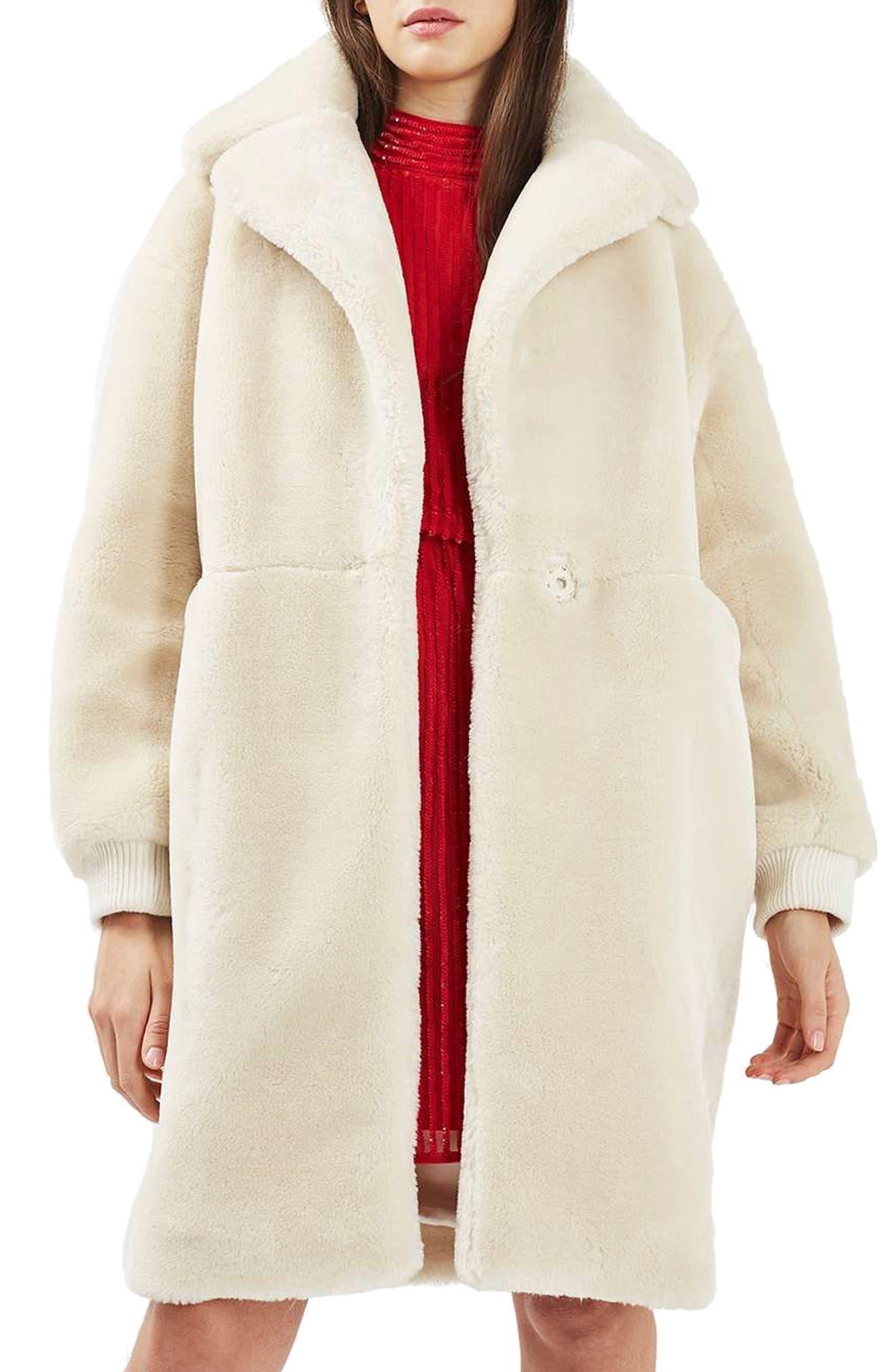 TOPSHOP Polar Bear Faux Fur Coat, Main, color, 900