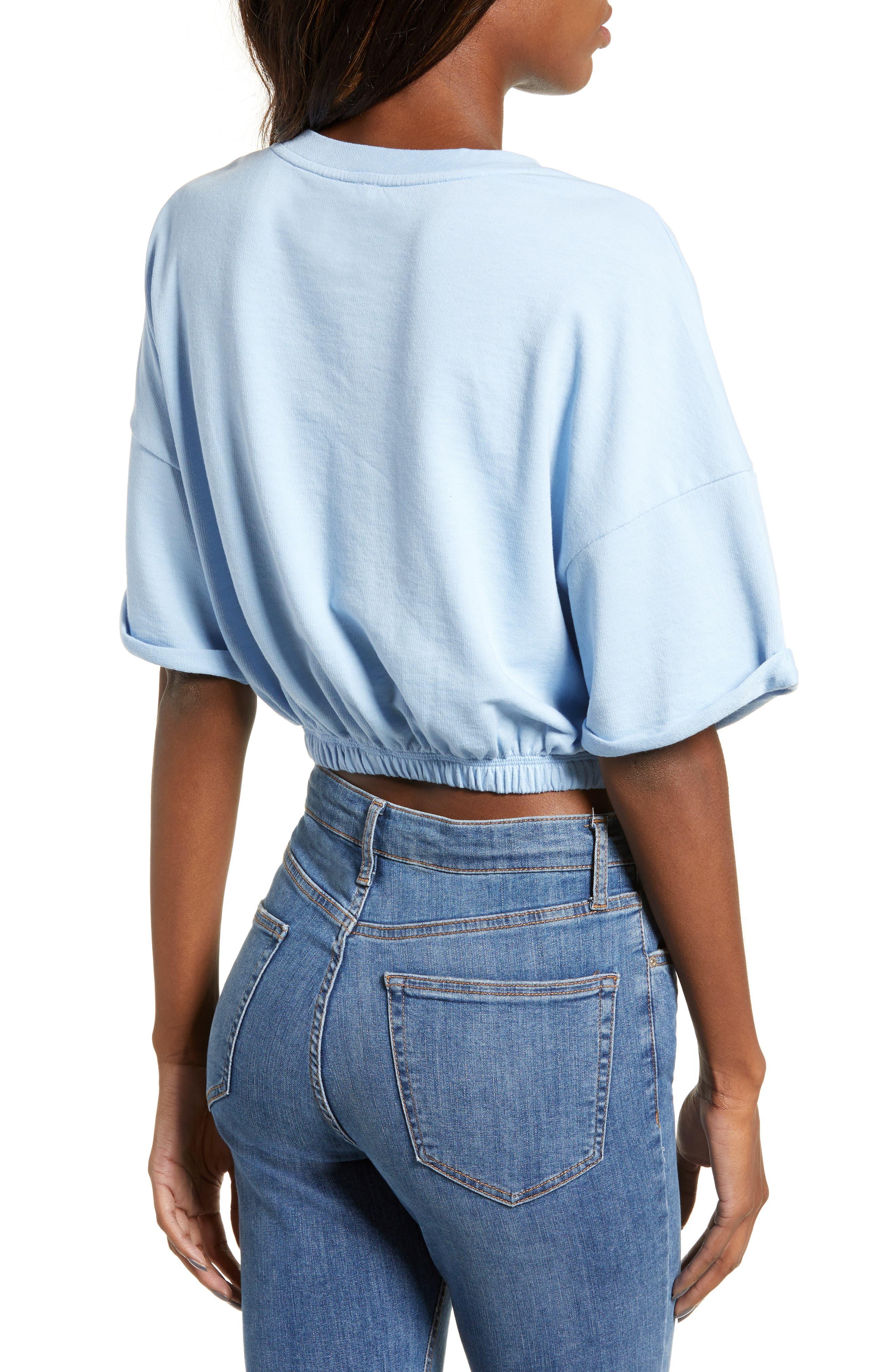 BP.,                             Vintage Wash Crop Short Sleeve Sweatshirt,                             Alternate thumbnail 2, color,                             BLUE PLACID