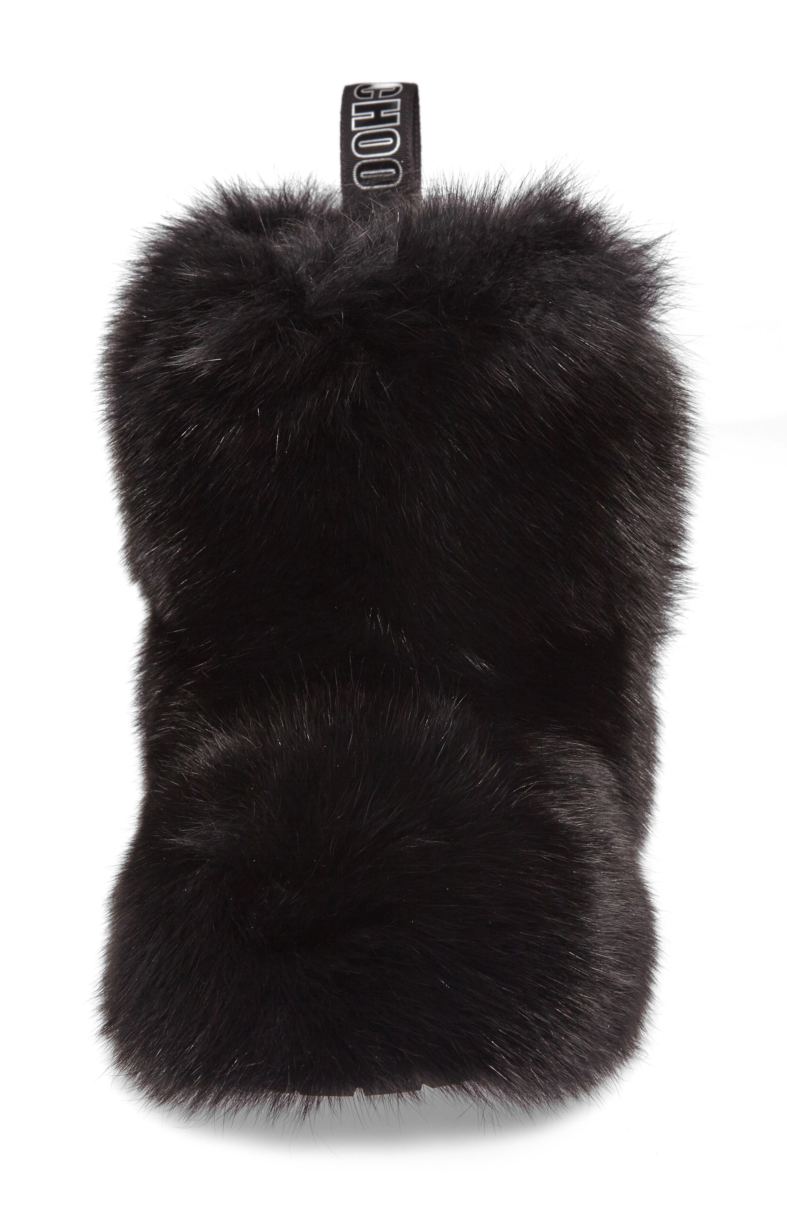 Dalton Genuine Fox & Rabbit Fur Bootie,                             Alternate thumbnail 4, color,                             001