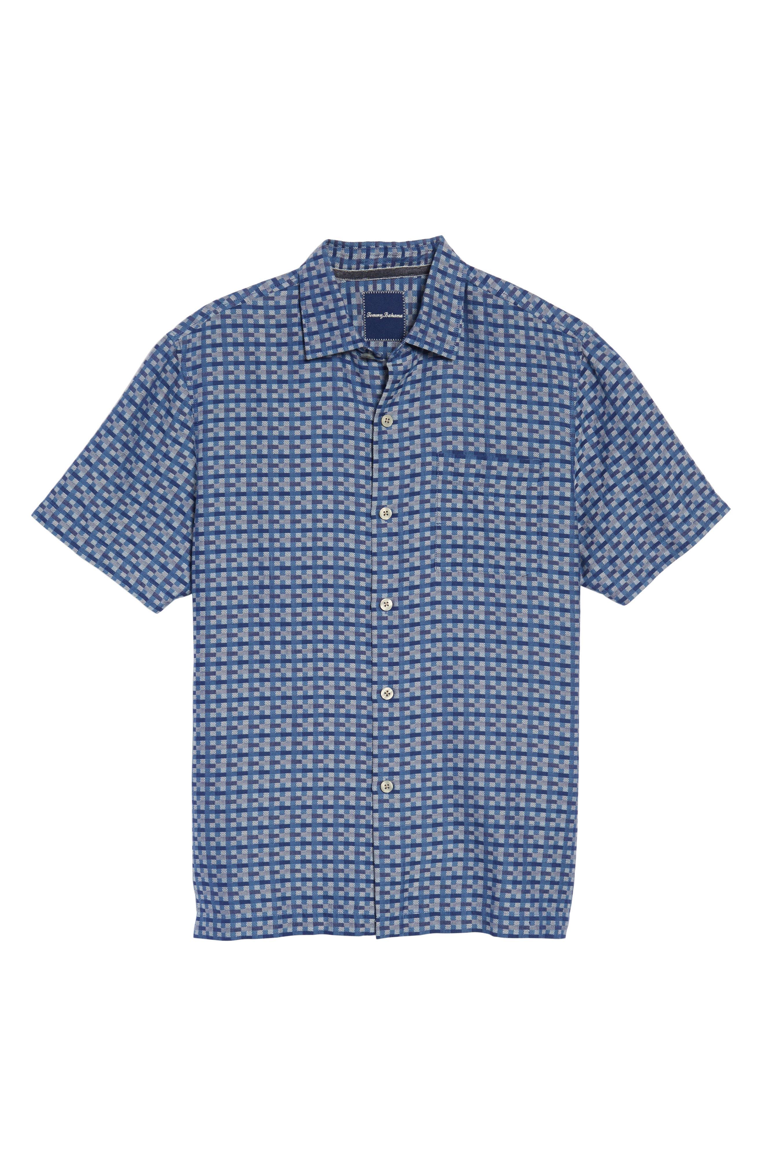 Moroccan Squares Standard Fit Silk Blend Camp Shirt,                             Alternate thumbnail 12, color,