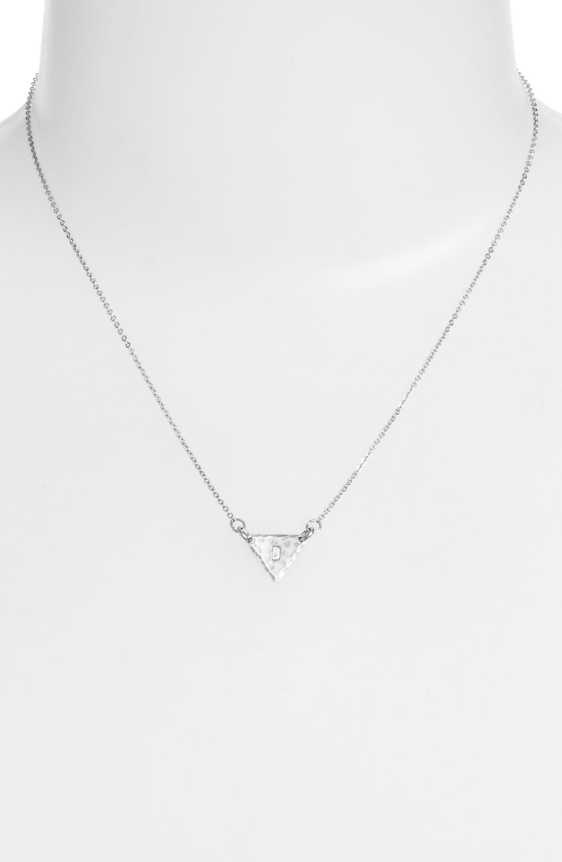 Sterling Silver Initial Mini Triangle Necklace,                             Alternate thumbnail 30, color,