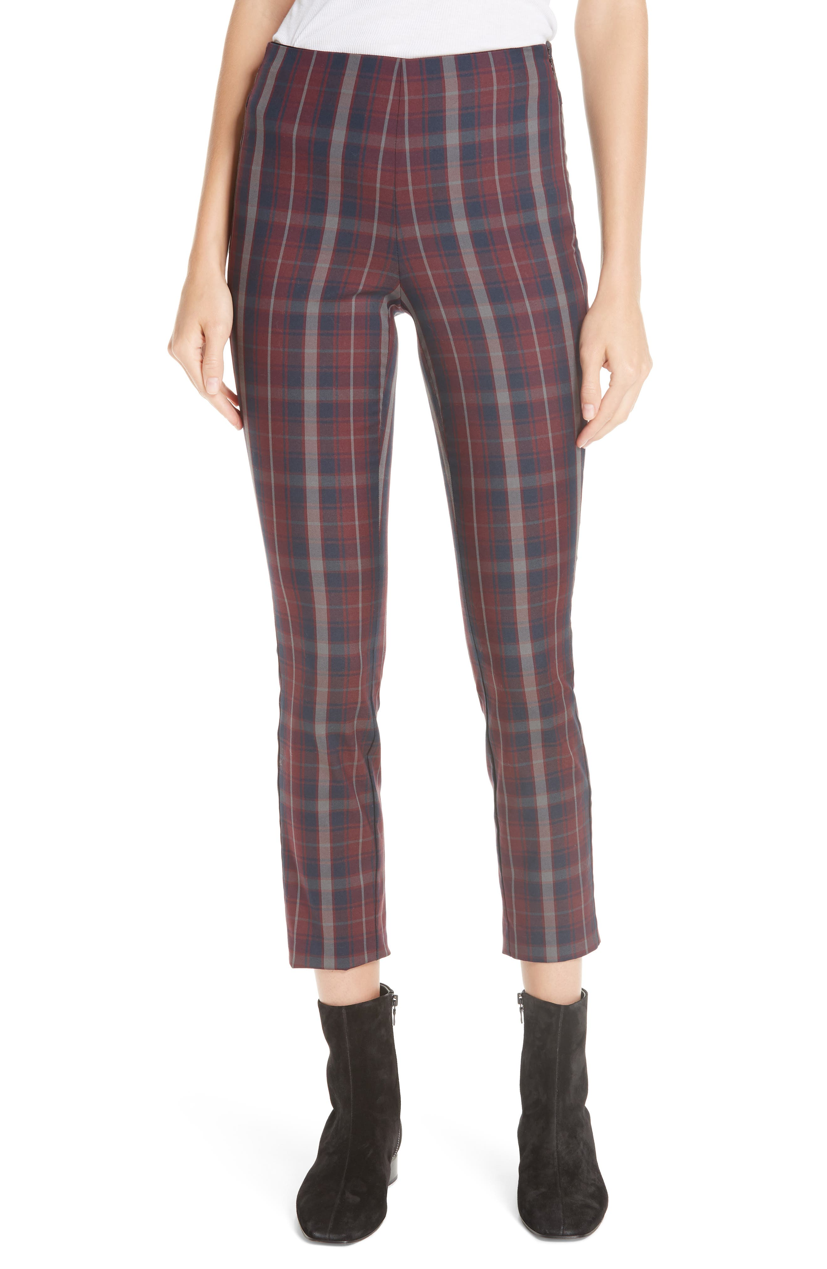 Simone Checked Cotton-Blend Pants - Wine Size 12
