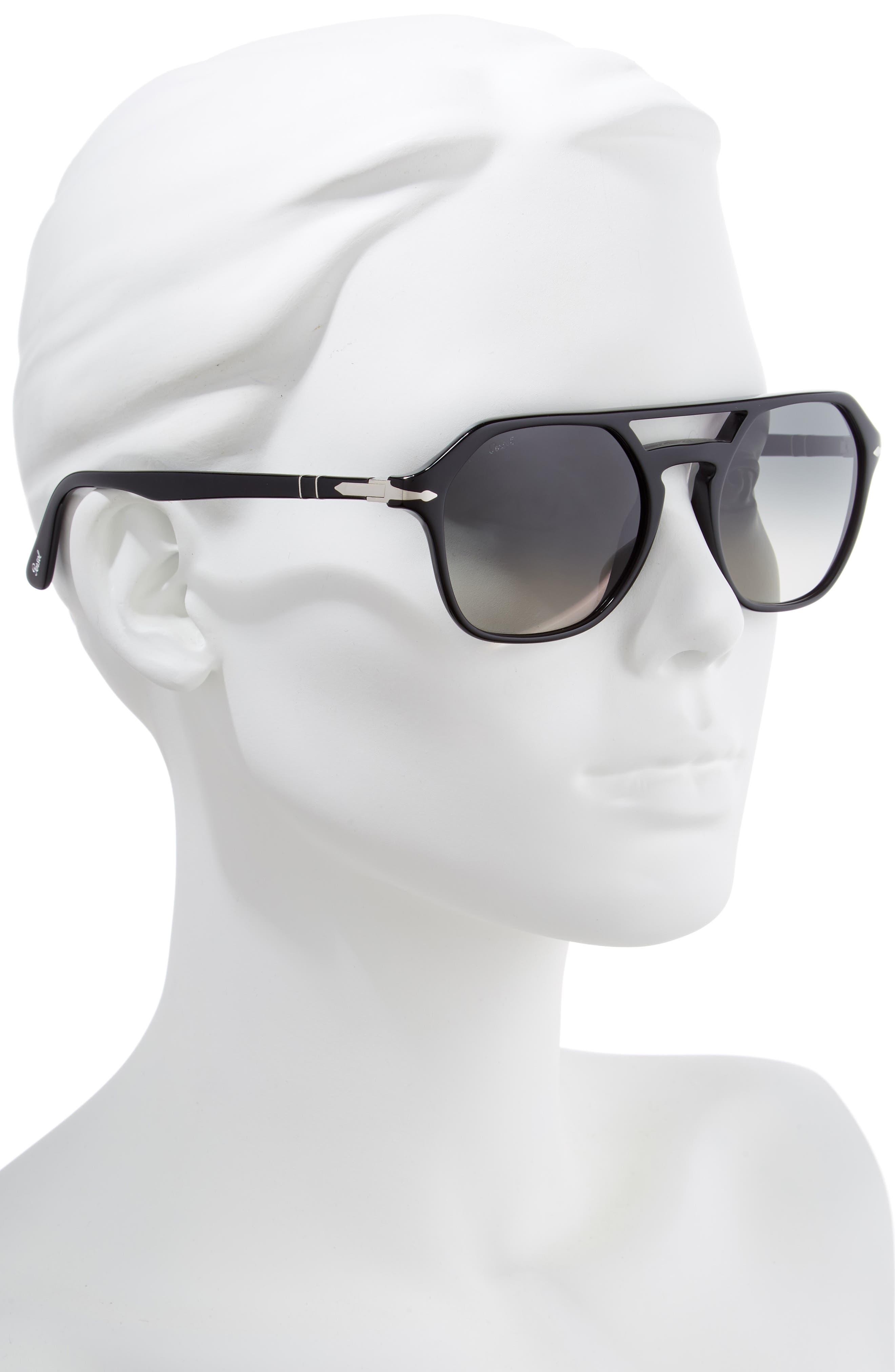PERSOL,                             54mm Navigator Sunglasses,                             Alternate thumbnail 2, color,                             BLACK/ GREY GRADIENT