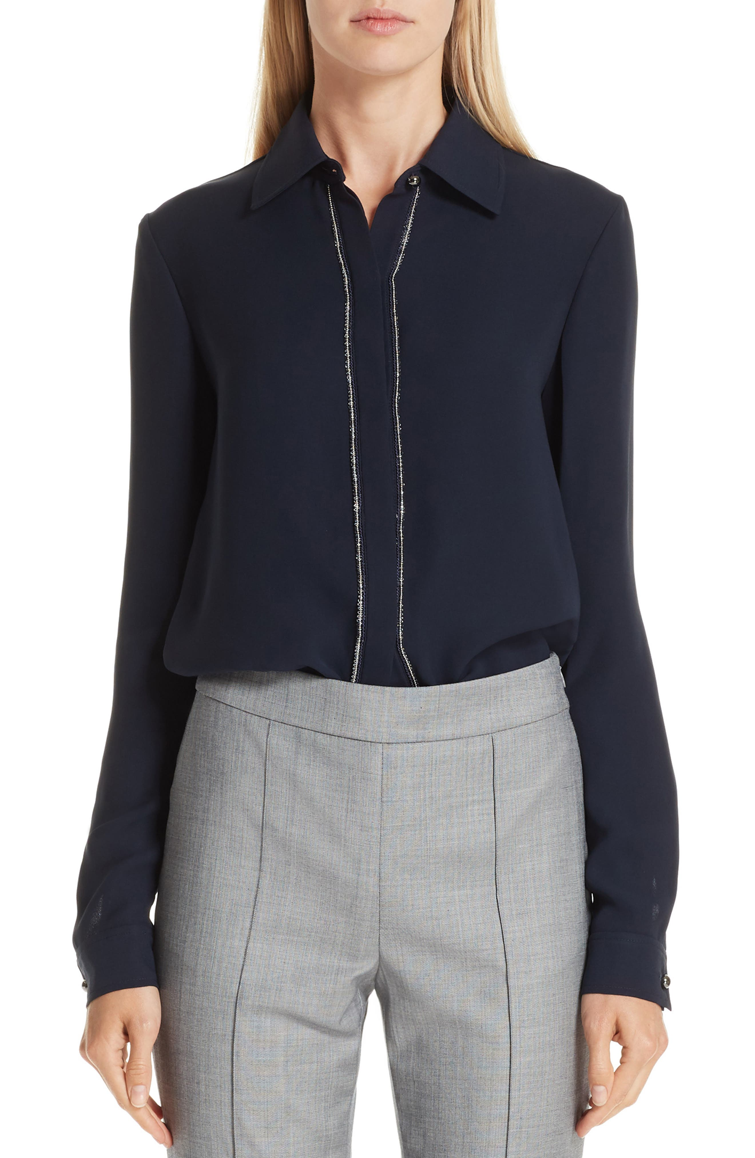 Beaded Button-Front Long-Sleeve Silk Blouse in Navy