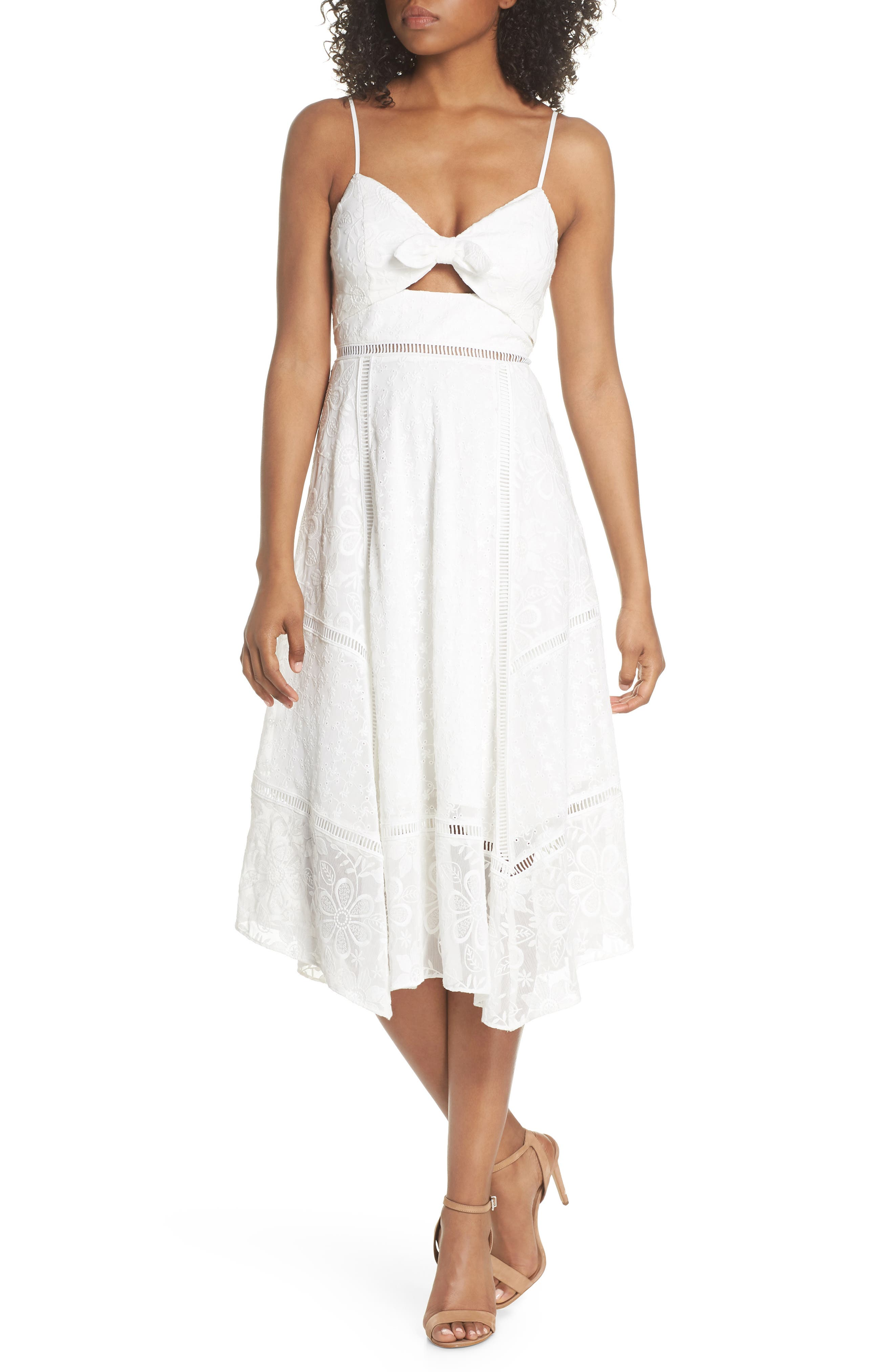 EVER NEW Broderie Anglaise Knot Detail Dress, Main, color, 100