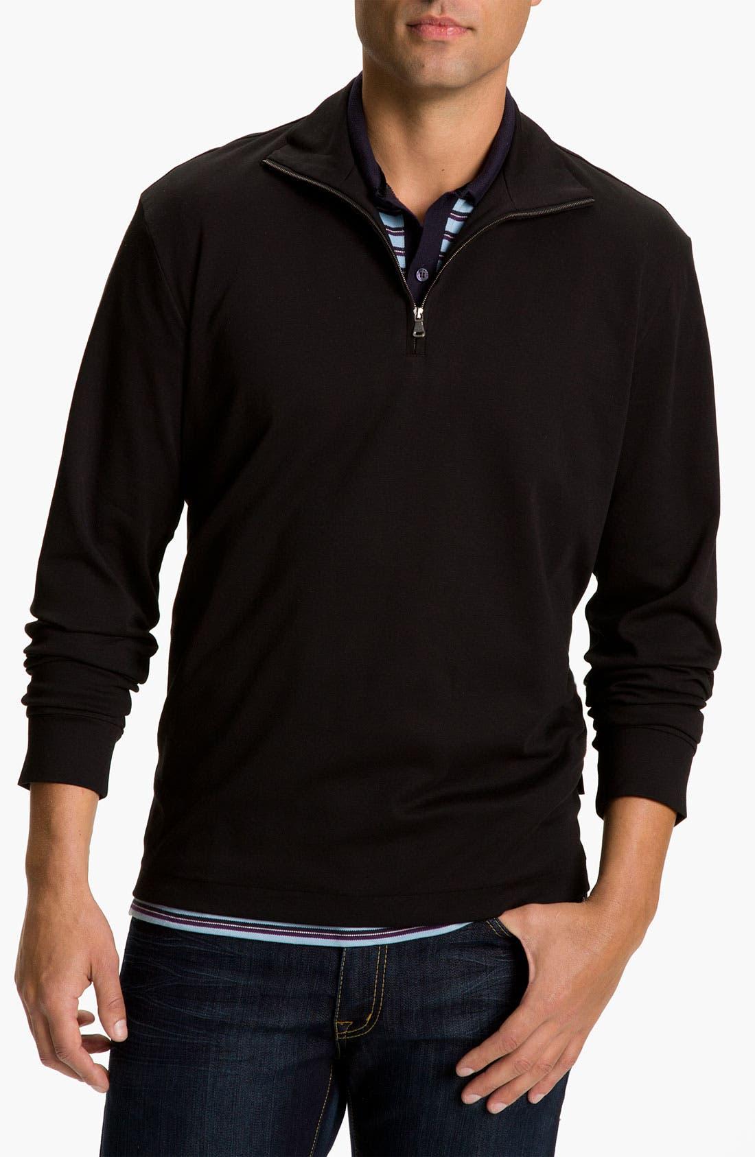 Black 'Padua' Quarter Zip Pullover, Main, color, 001