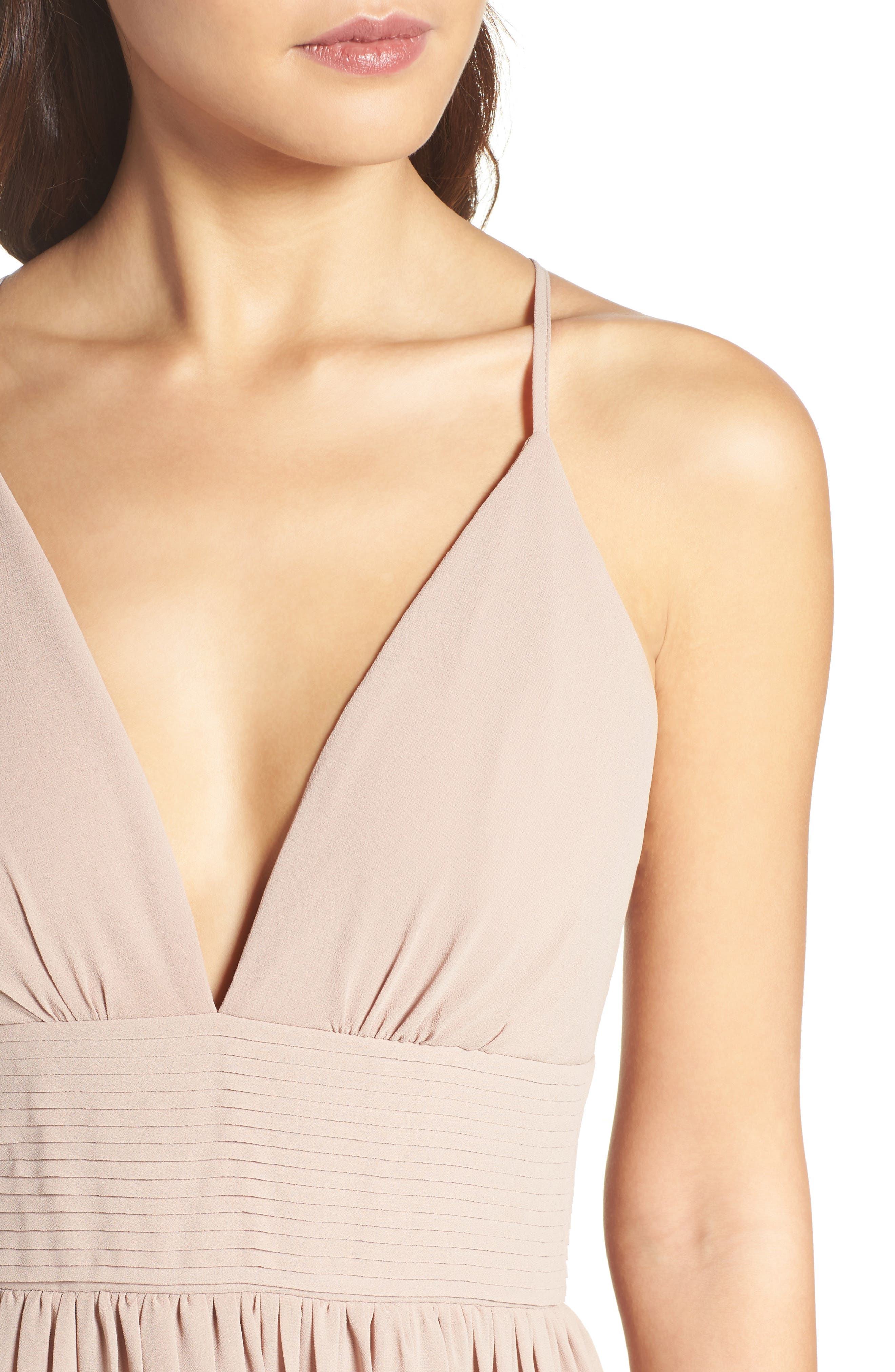 Plunging V-Neck Pleat Georgette Gown,                             Alternate thumbnail 29, color,