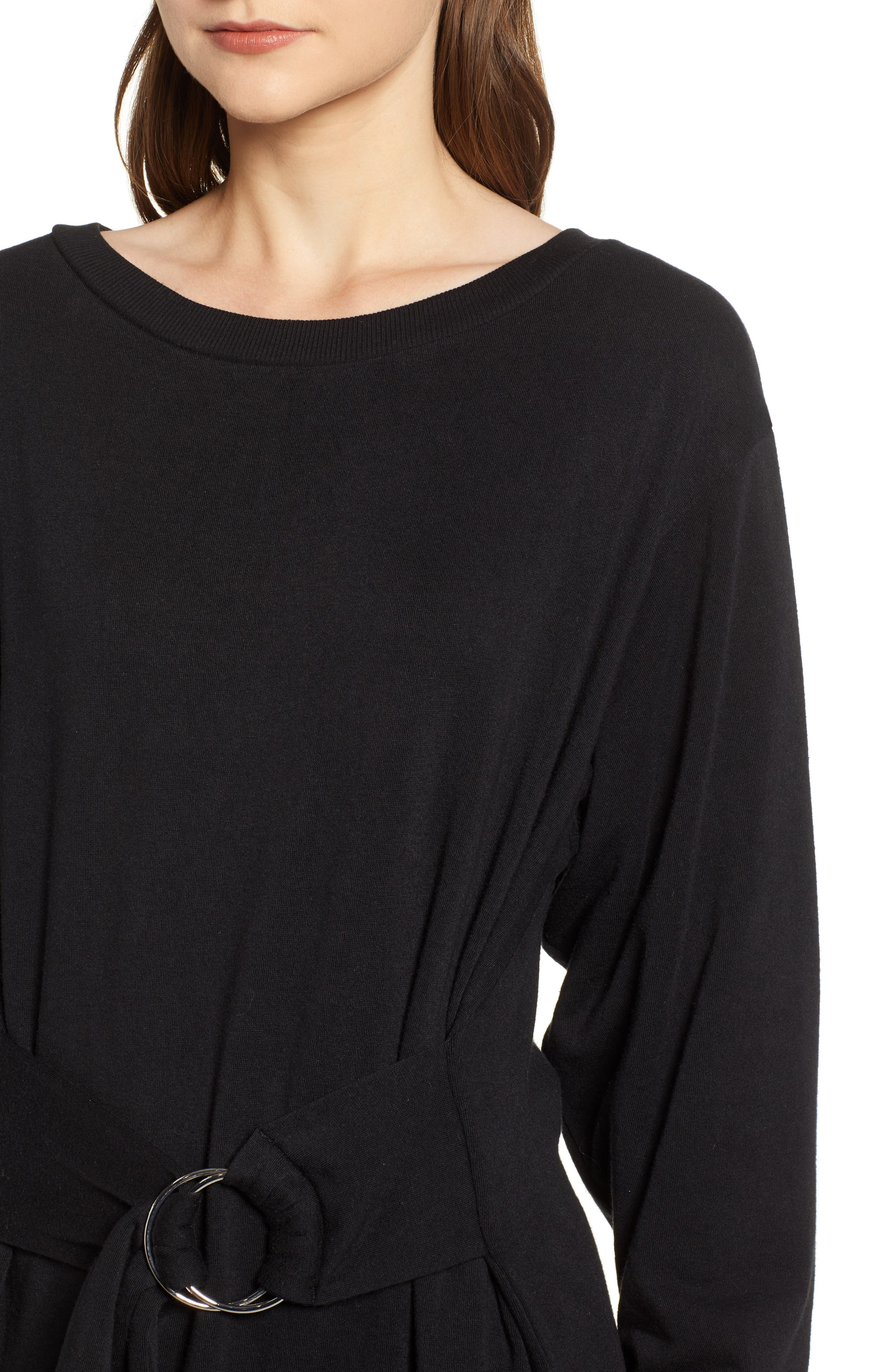Belted Sweatshirt Dress,                             Alternate thumbnail 4, color,                             BLACK