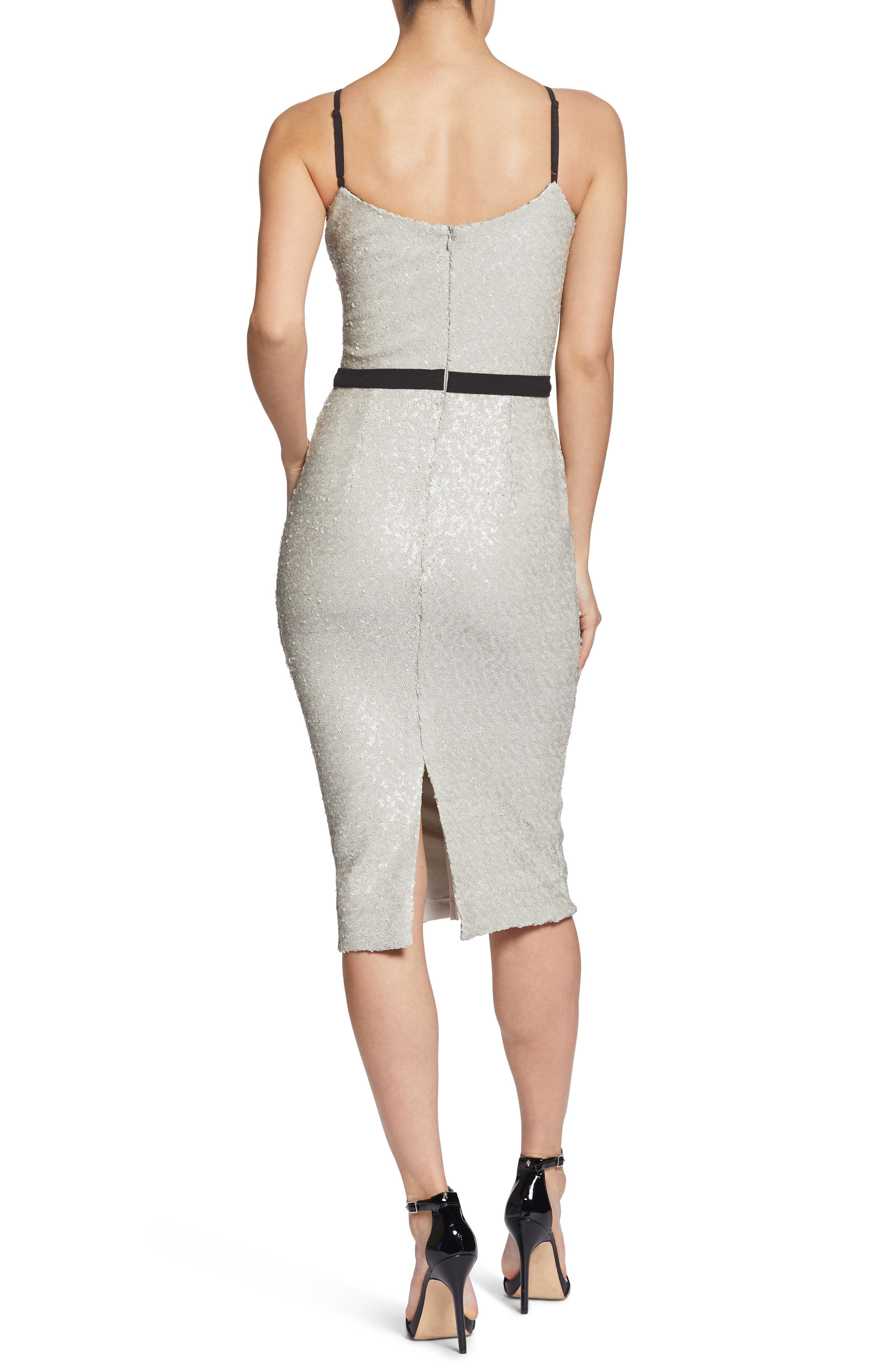 Emma Sequin Body-Con Dress,                             Alternate thumbnail 2, color,                             BONE