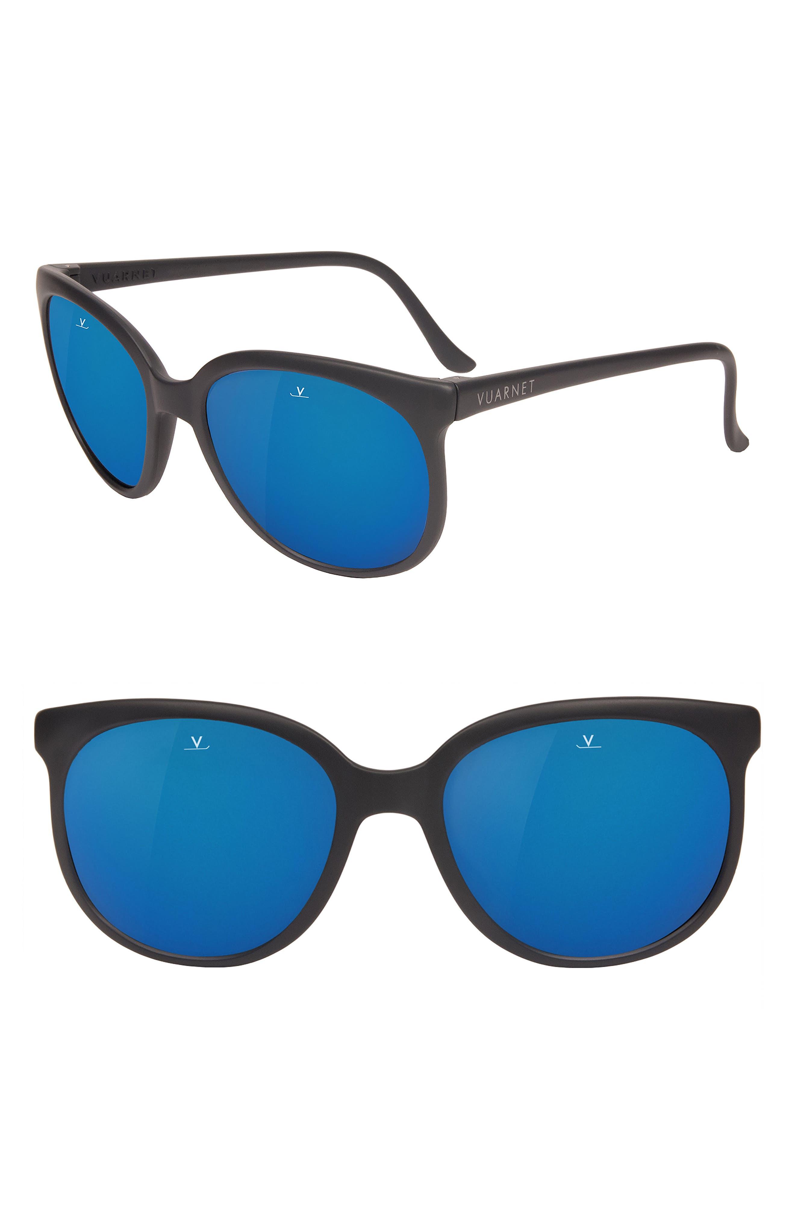 Legends 02 55mm Polarized Sunglasses,                             Main thumbnail 1, color,                             GREY POLAR BLUE FLASH