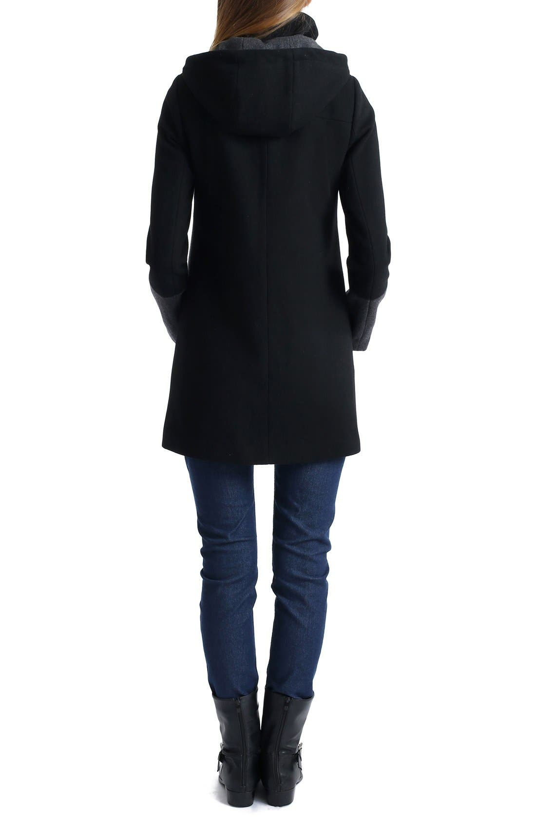 'Tessa' Colorblock Maternity Coat,                             Alternate thumbnail 4, color,                             BLACK