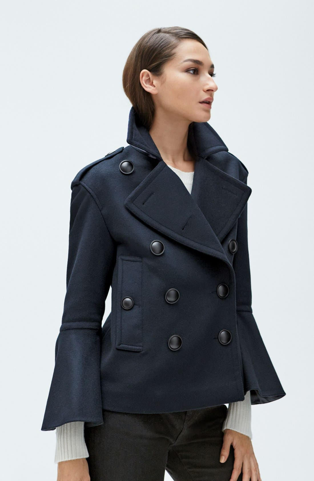 BURBERRY,                             Juliette Townhill Double Breasted Peacoat,                             Alternate thumbnail 2, color,                             410
