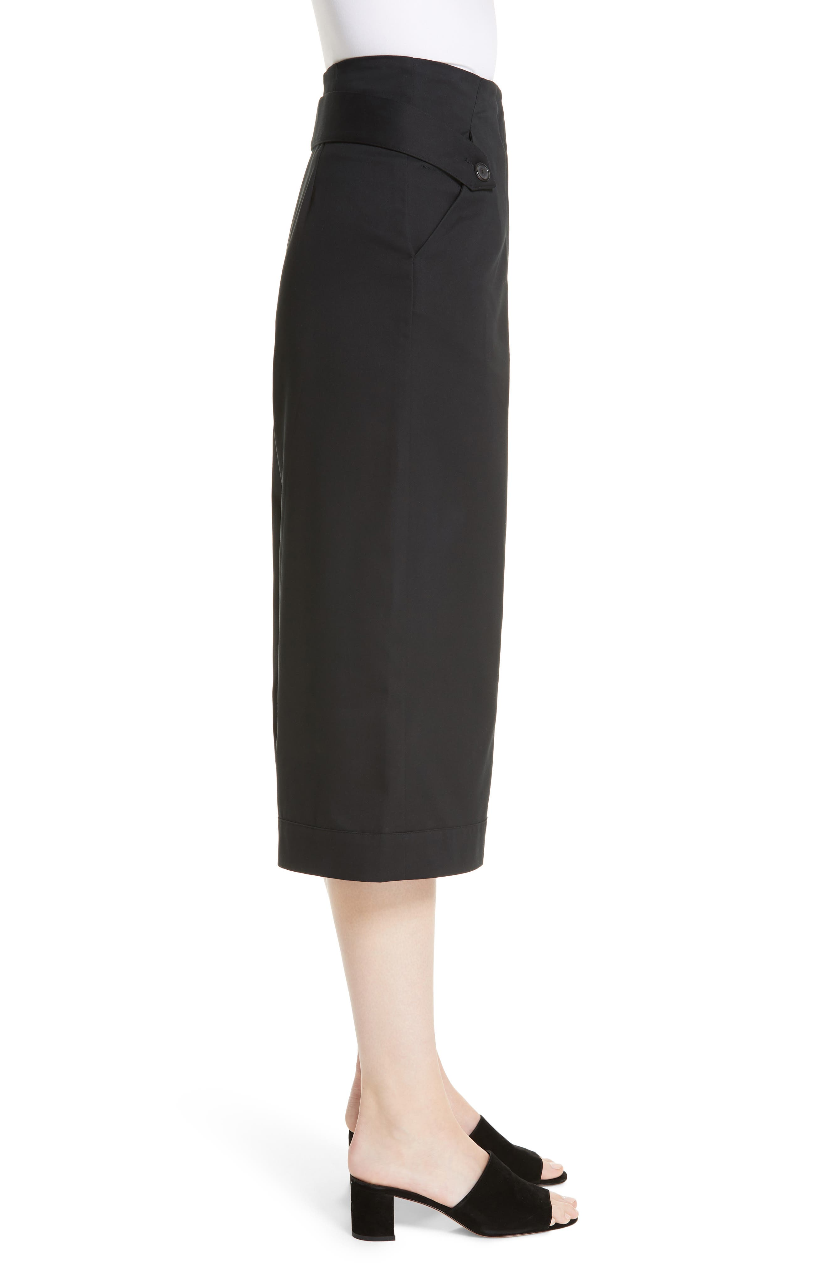 Palmer Harding Distorted Culottes,                             Alternate thumbnail 3, color,                             BLACK COTTON TWILL