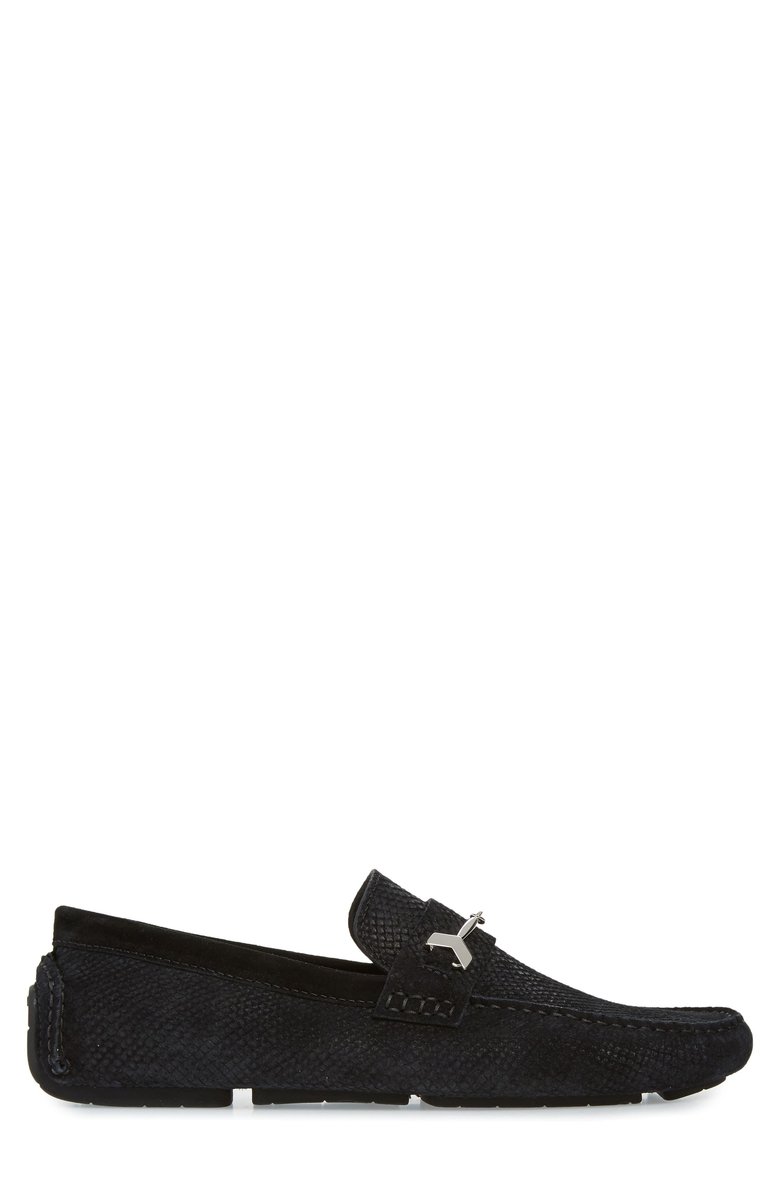Brewer Croc Textured Driving Loafer,                             Alternate thumbnail 3, color,                             BLACK/BLACK