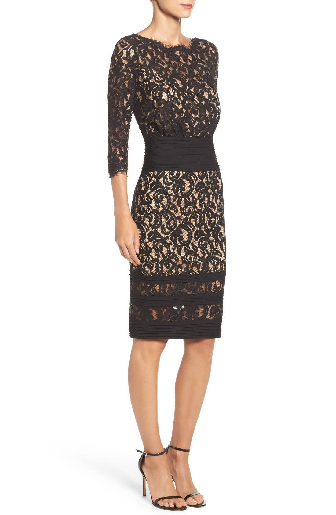 Pleat Waist Lace Blouson Dress,                             Alternate thumbnail 3, color,                             004