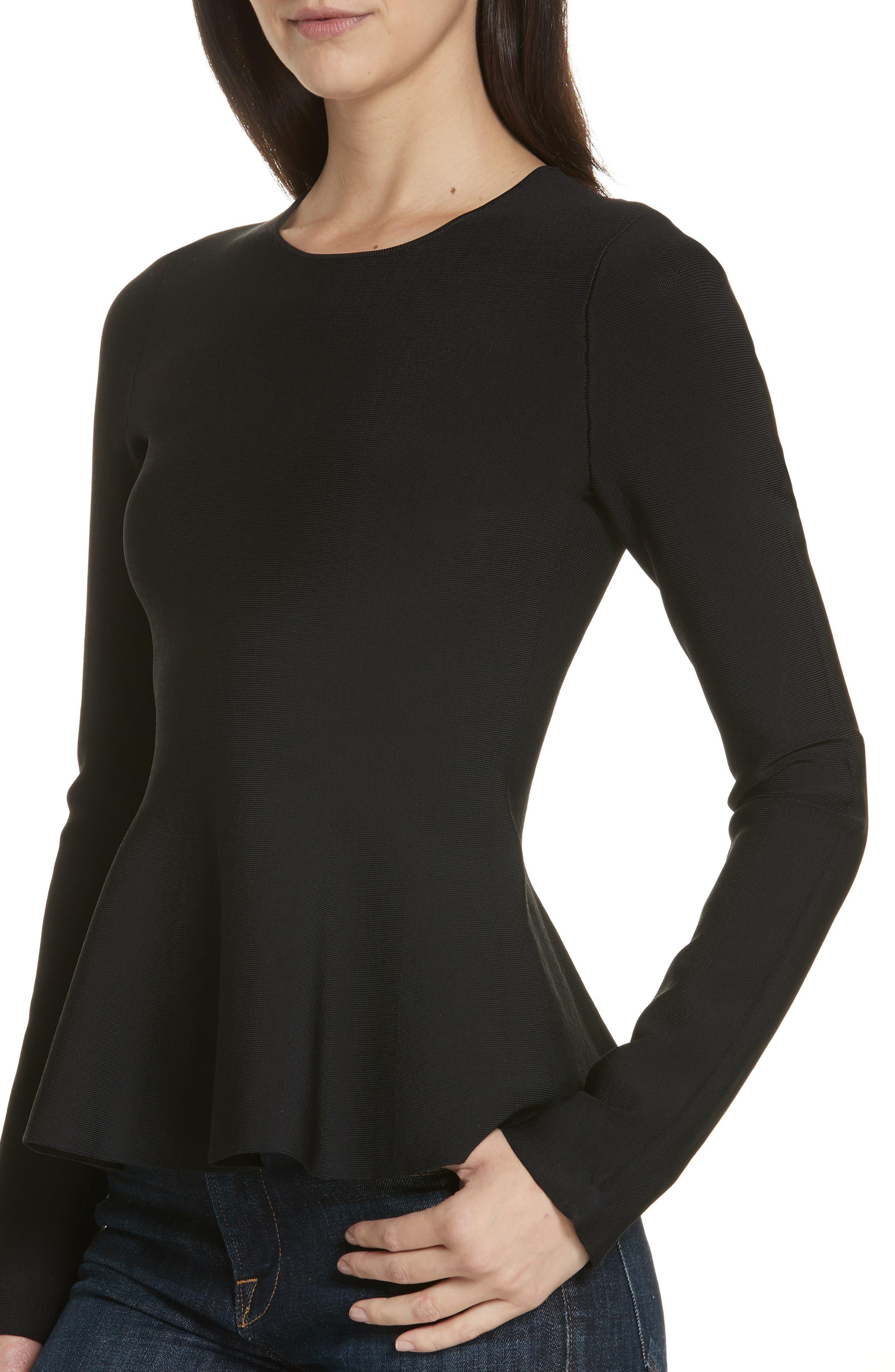 Glossed Peplum Sweater,                             Alternate thumbnail 4, color,                             BLACK