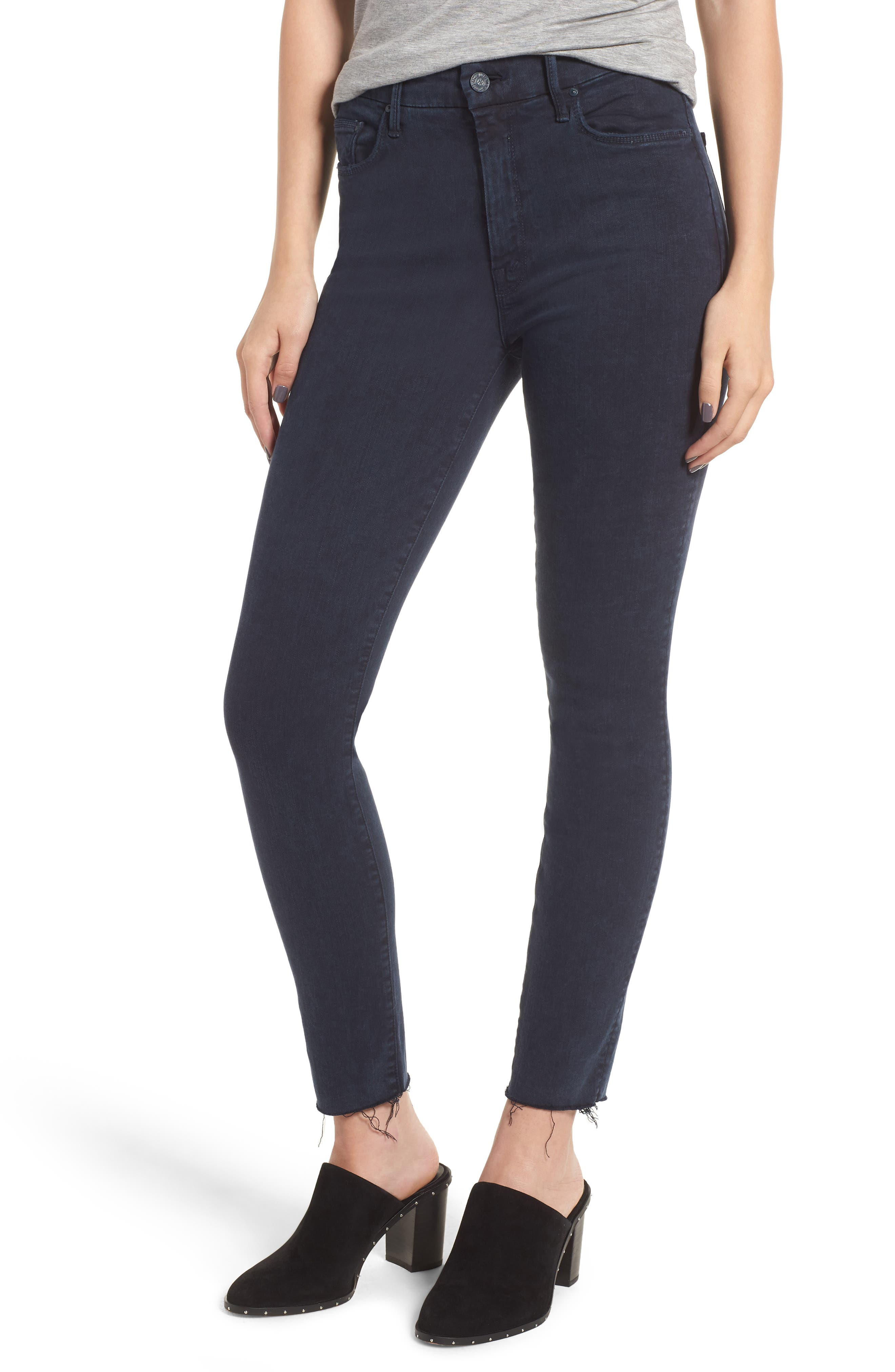 The Looker Frayed Ankle Skinny Jeans,                             Main thumbnail 1, color,                             011