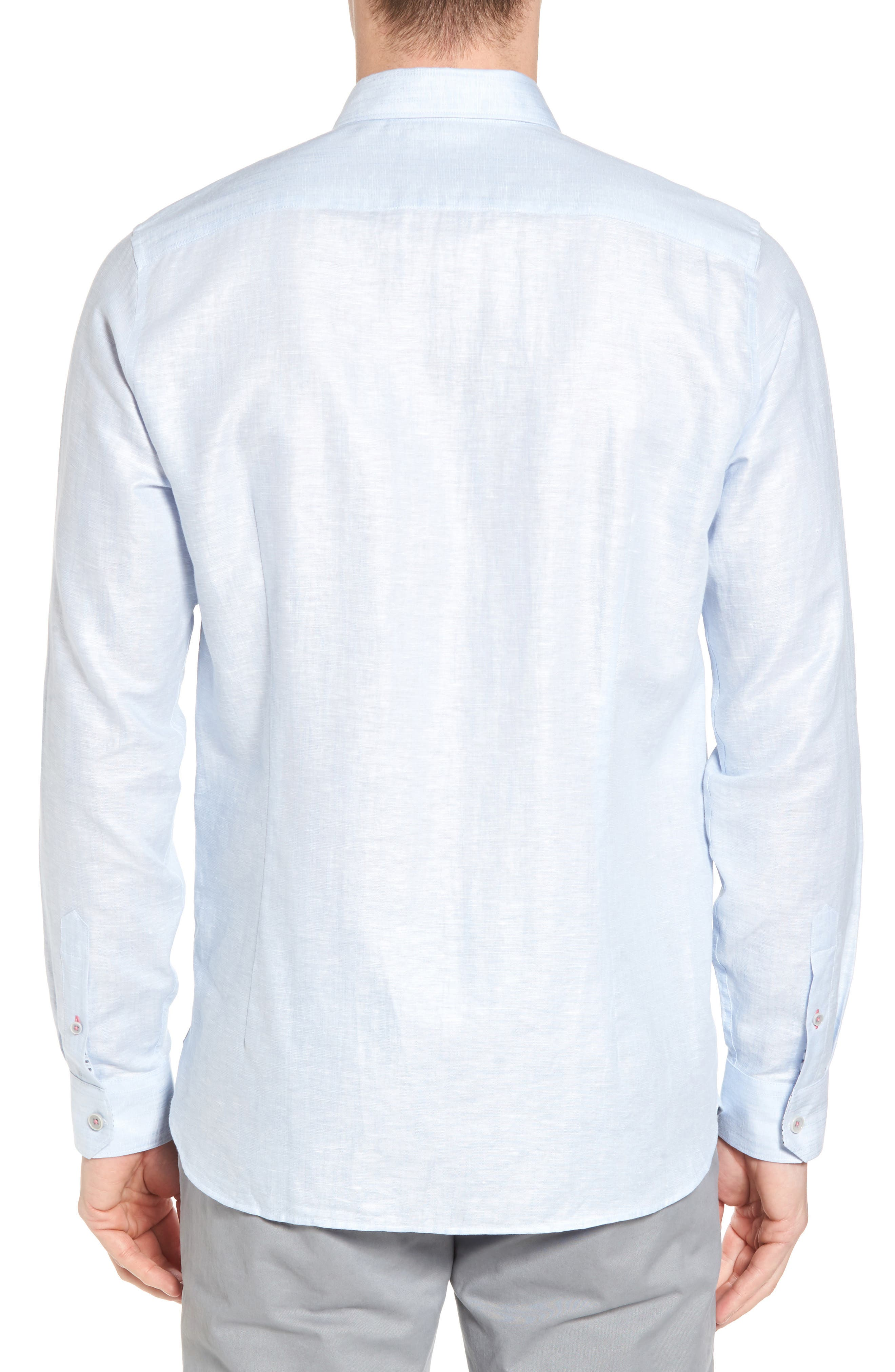Linlins Herringbone Cotton & Linen Sport Shirt,                             Alternate thumbnail 8, color,