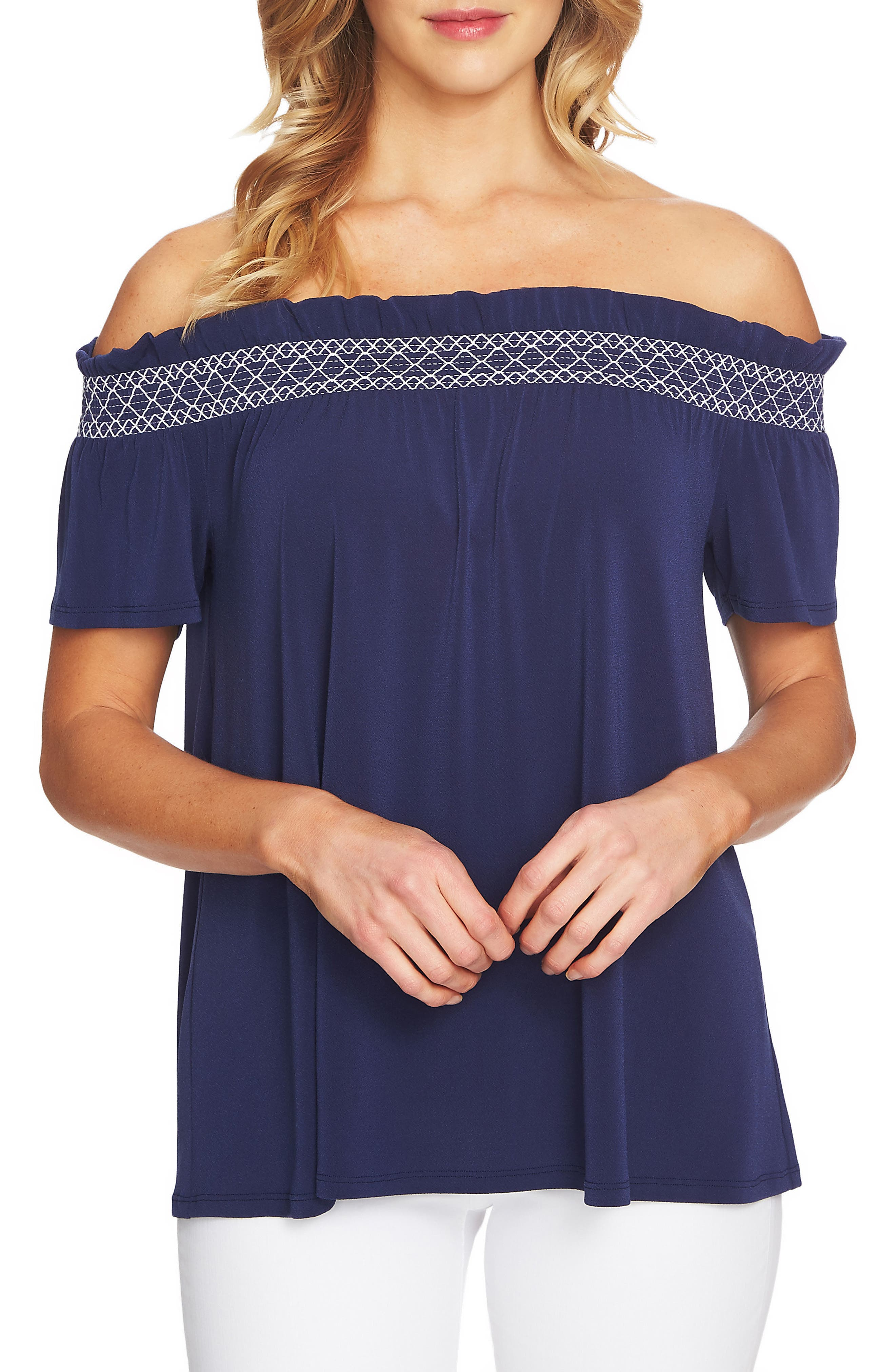 Smocked Off the Shoulder Crepe Top,                             Main thumbnail 1, color,