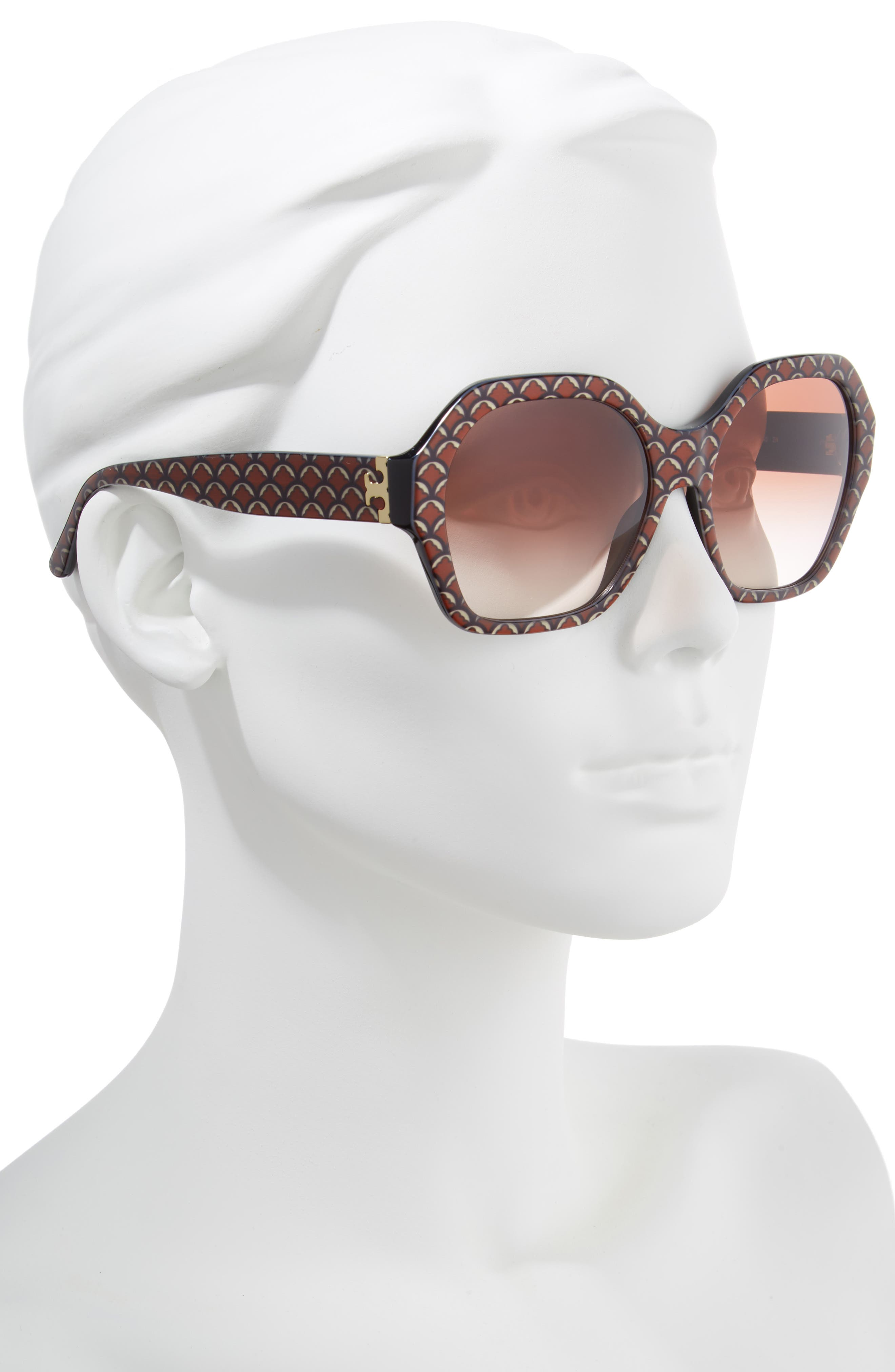 Serif T 57mm Hexagonal Sunglasses,                             Alternate thumbnail 2, color,                             BLACK PRINT